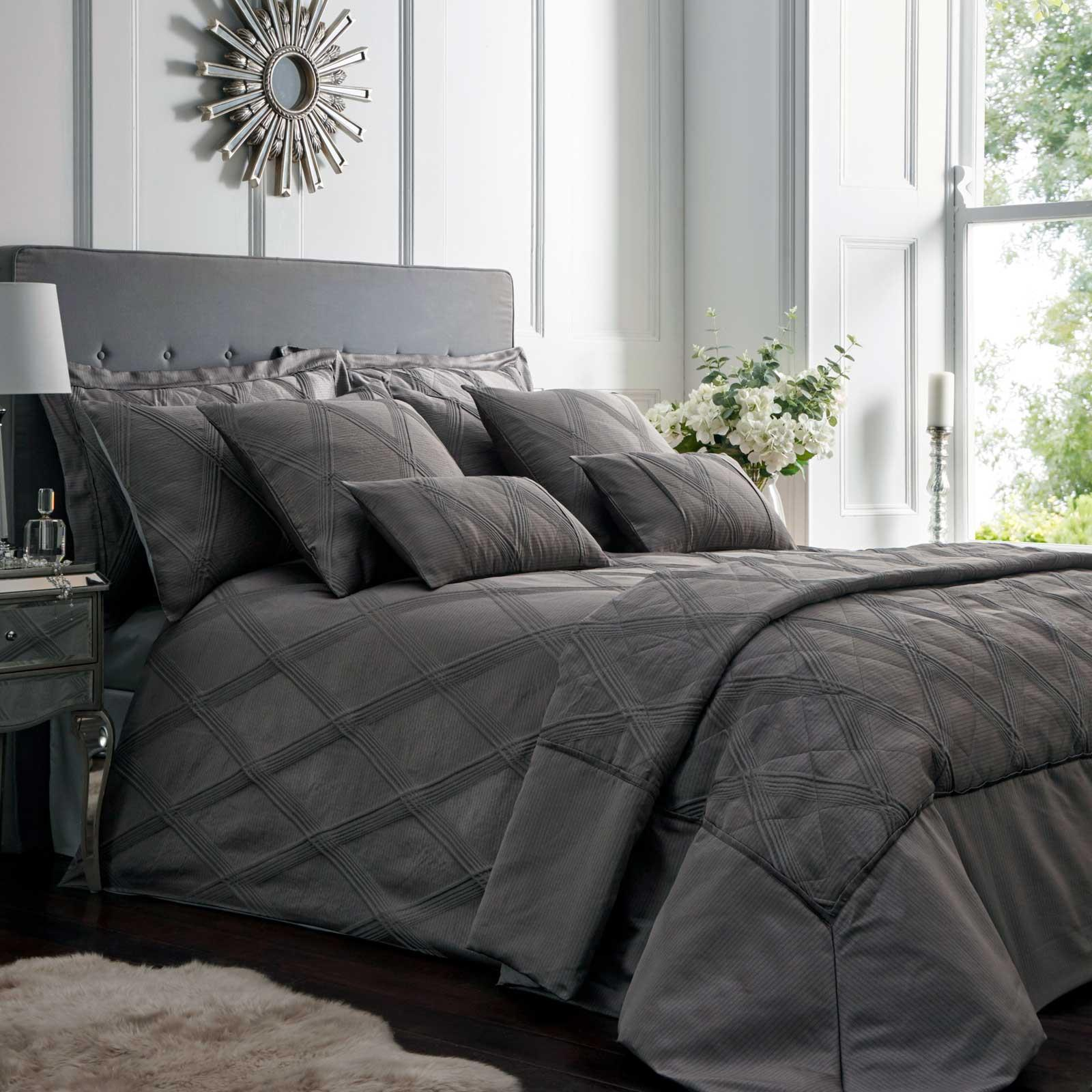 Grey Duvet Covers Textured Diamond Modern Jacquard Quilt Cover Bedding Sets Ebay