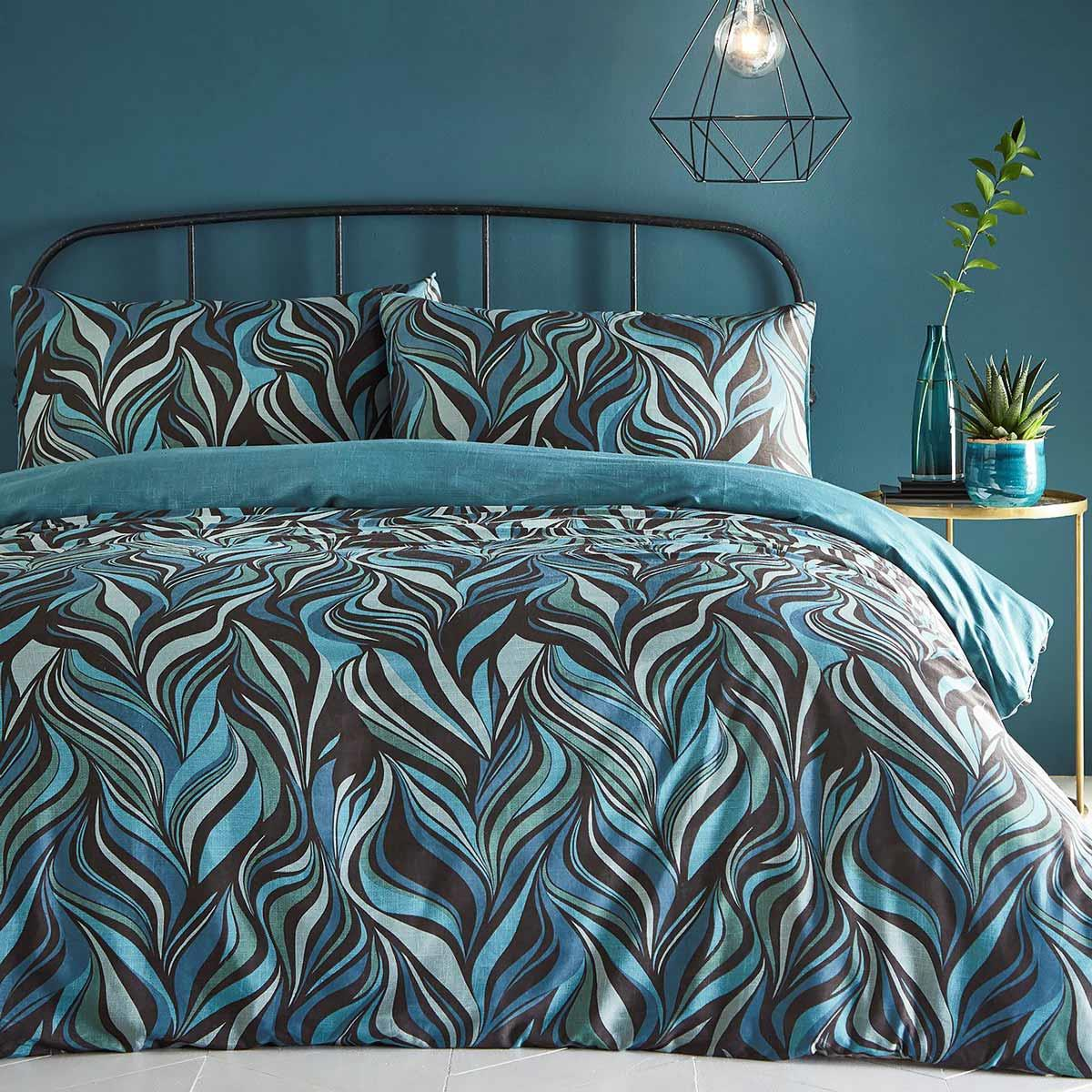 Teal Duvet Covers Retro Abstract Swirl 300 Thread Count Quilt Cover Bedding Sets Ebay