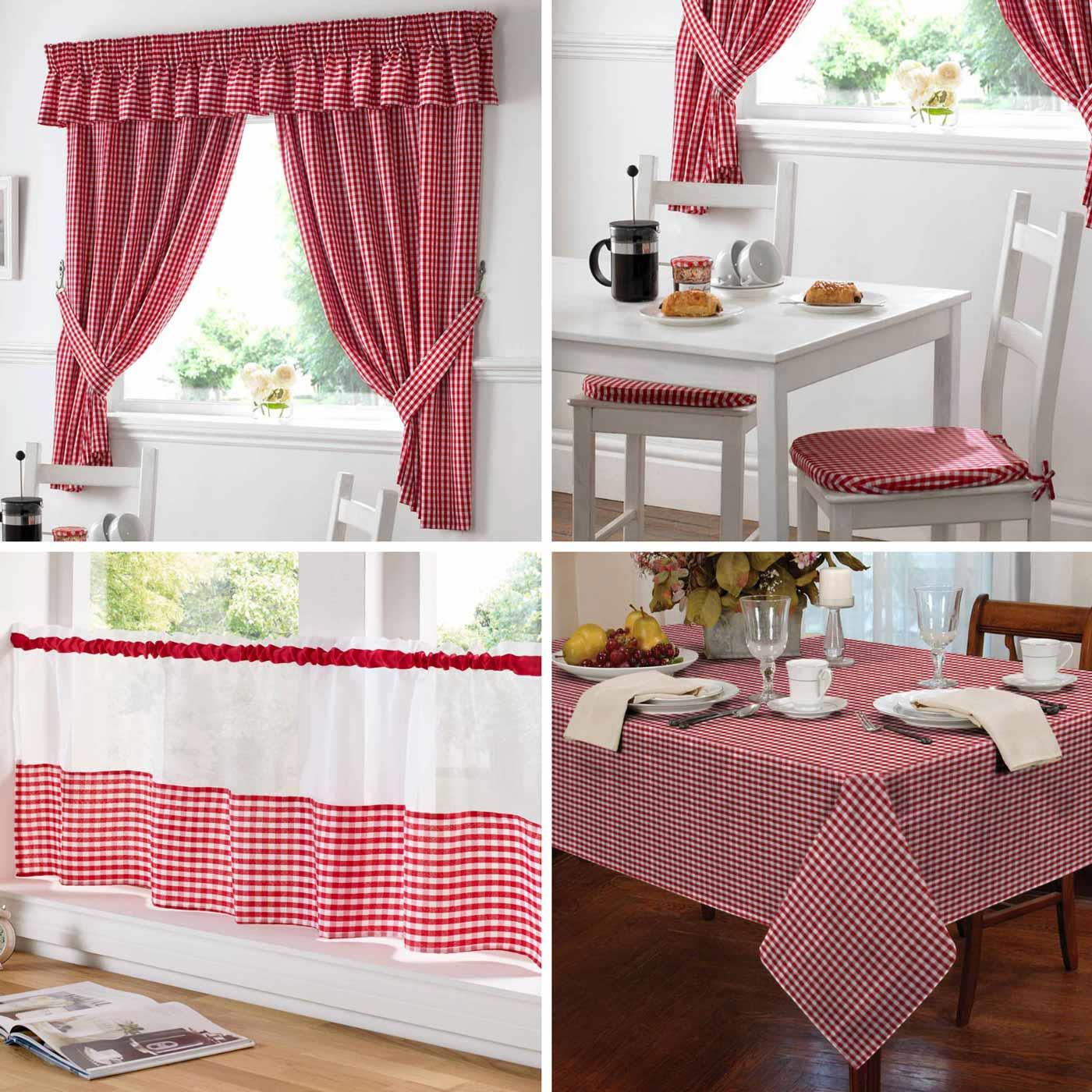 Details About Gingham Kitchen Curtains Set Red Curtain Pairs Cafe Panels Tablecloths