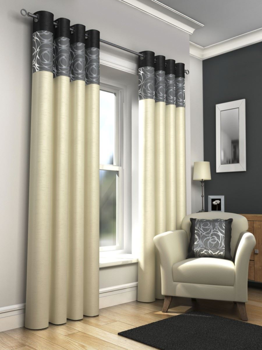 Skye Lined Eyelet Curtains Faux Silk Metallic Ready Made Ring Top ...