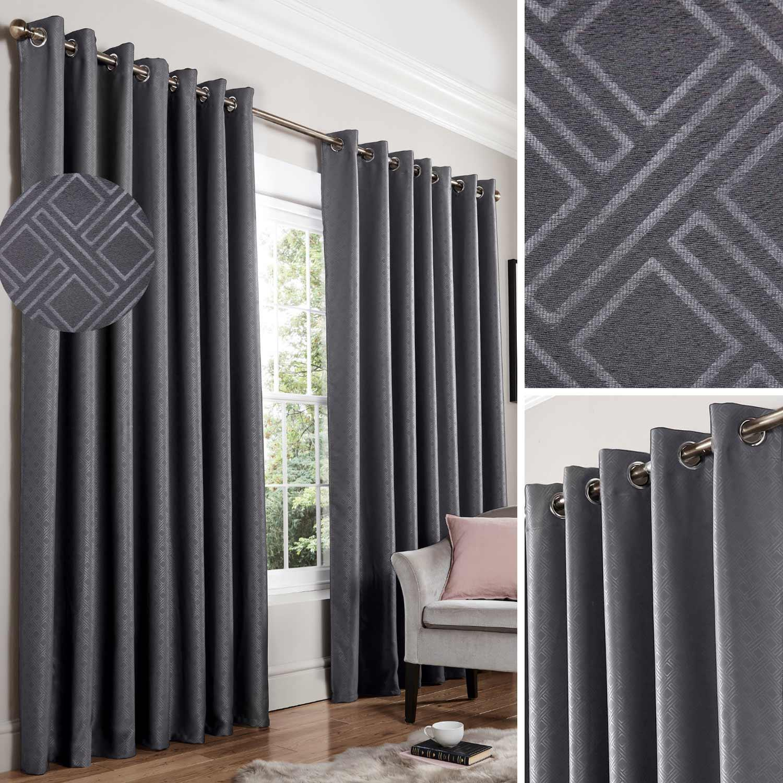 Charcoal Grey Blackout Curtains Diamond Thermal Eyelet