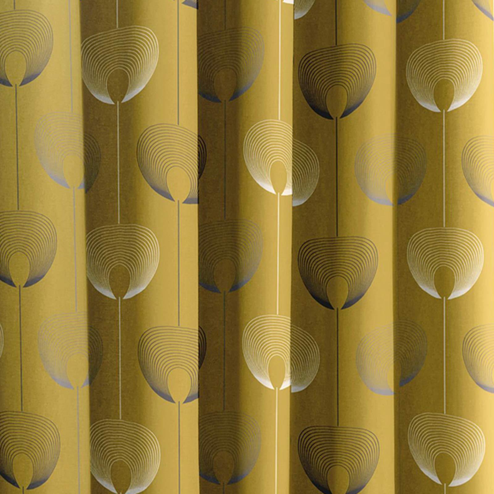 Cortina-con-Ojales-de-mostaza-pares-Amarillo-Ocre-Anillo-Top-Forrado-Listo-Cortinas miniatura 28