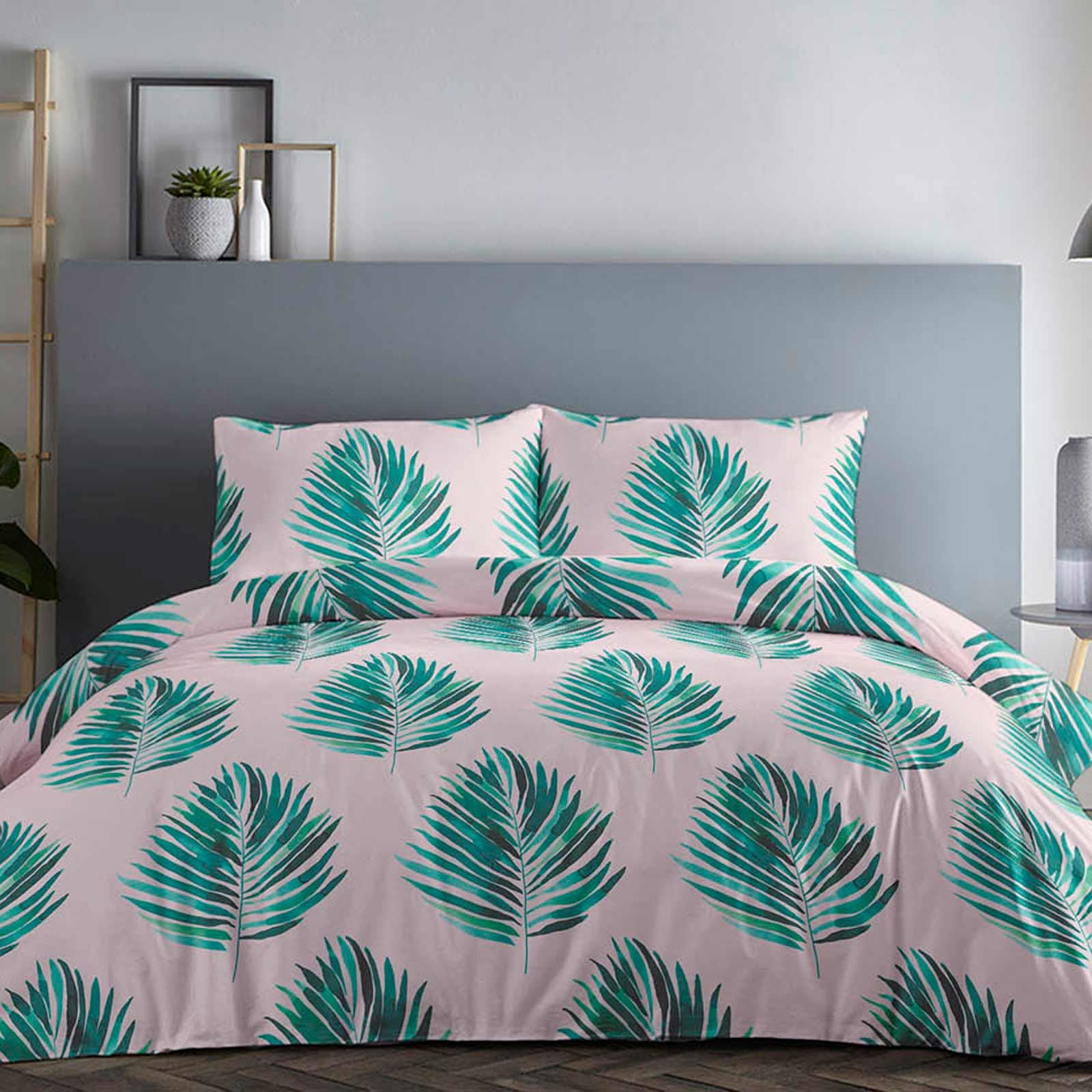 Pink Duvet Covers Blush Tropical Palms Leaves Green Quilt Cover Bedding Sets Ebay Scatter these polyester tropical leaves on beach party tables. details about pink duvet covers blush tropical palms leaves green quilt cover bedding sets