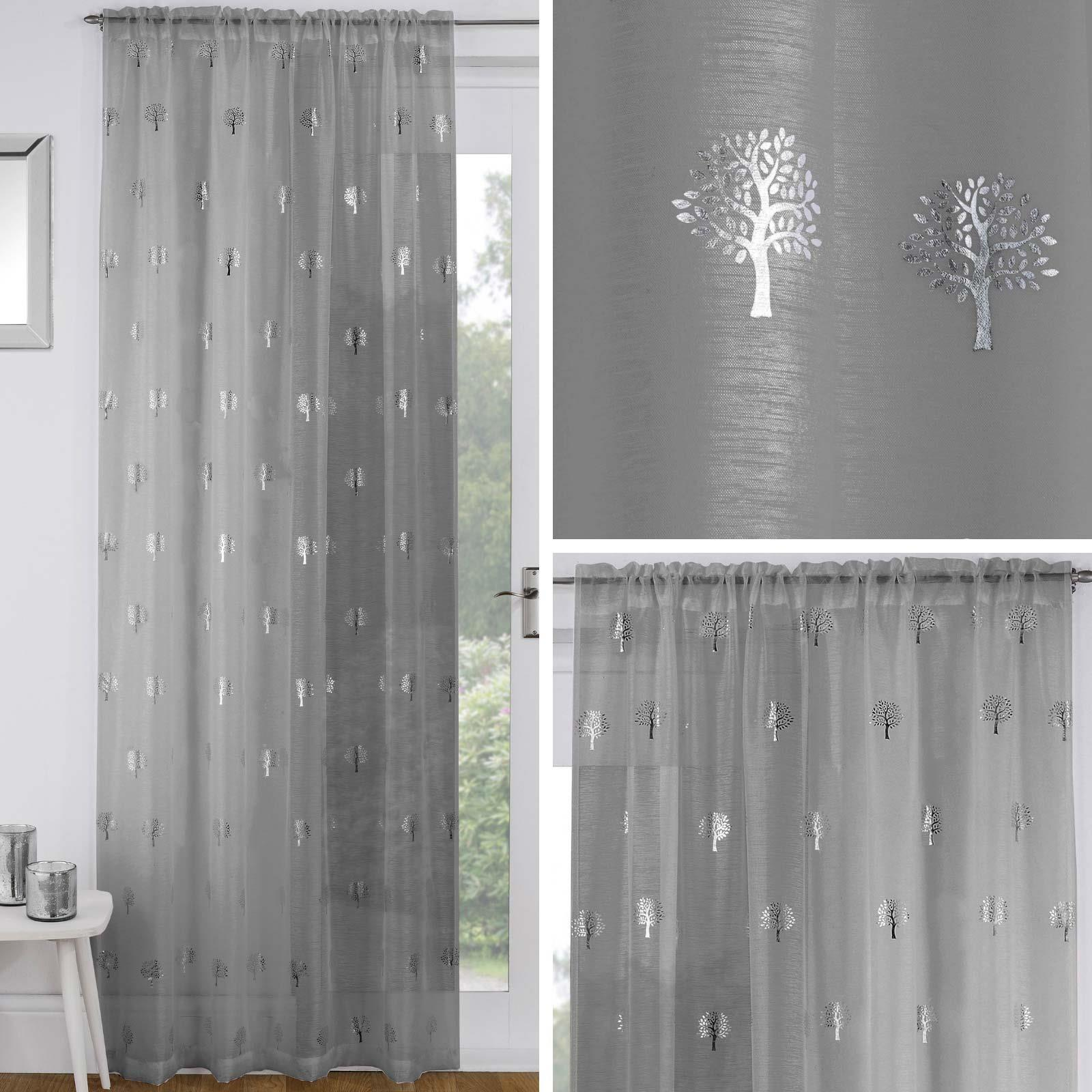 Grey Voile Curtain Silver Metallic Trees Slot Top Panels Rod Pocket Sheer Voiles Ebay