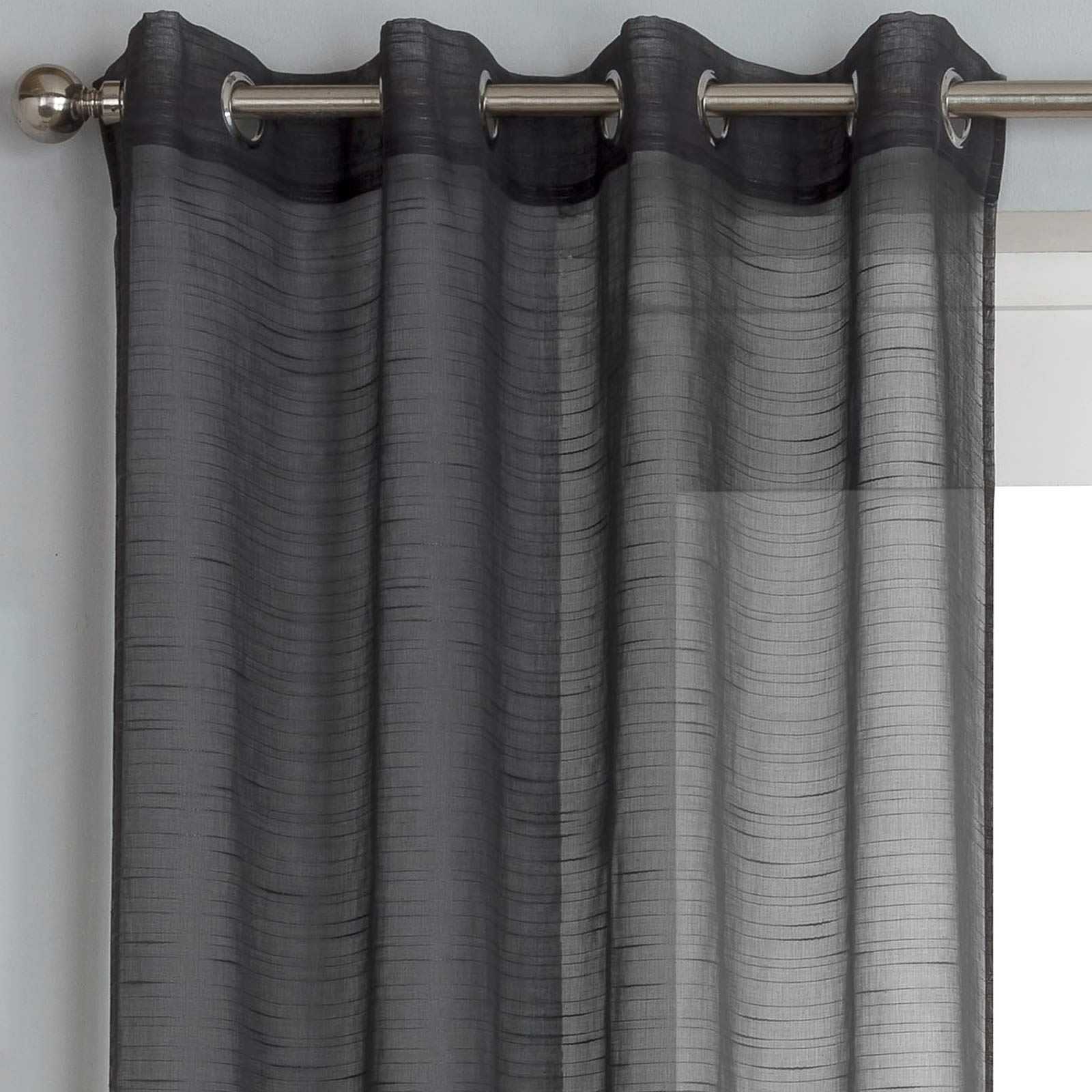 Silver Grey White Voile Eyelet Curtains Ring Top Sparkle