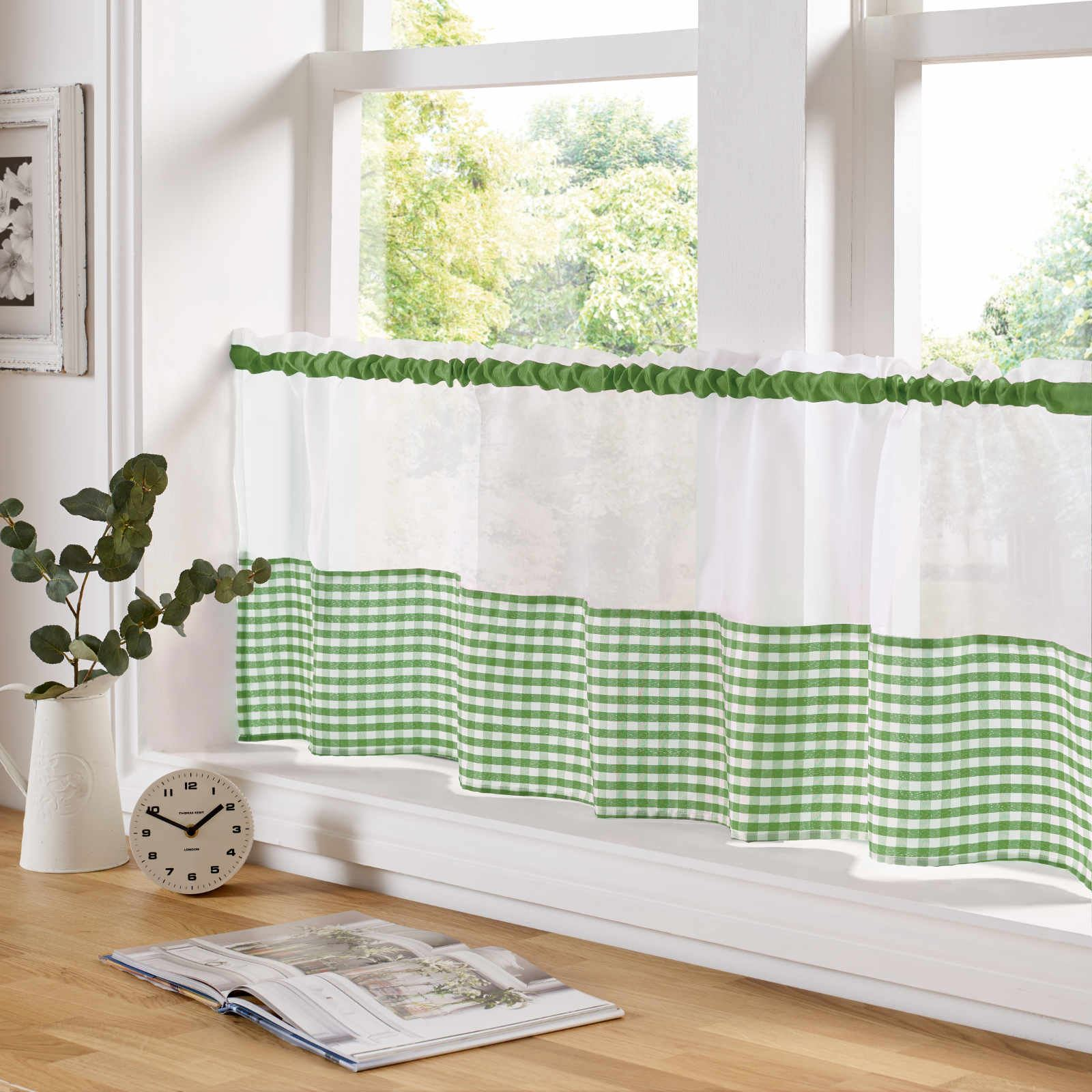 COUNTRY STYLE KITCHEN GINGHAM CURTAIN PAIR WINDOW DRAPES