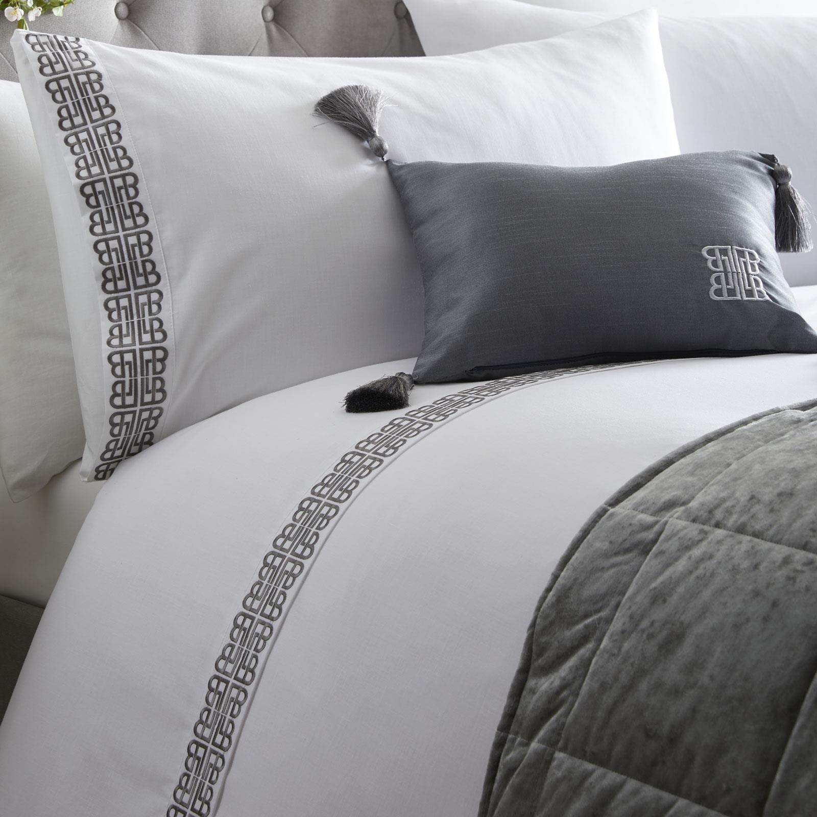 White Duvet Covers Grey Embroidered Laurence Llewellyn Bowen Luxury Bedding Sets Ebay