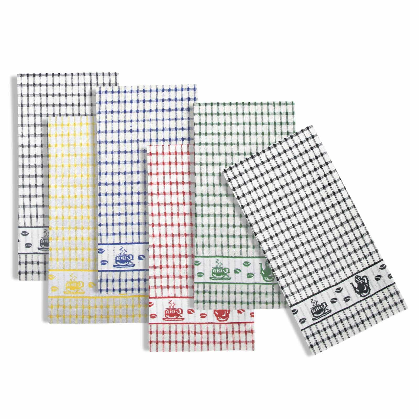 Packs-of-2-4-6-12-Tea-Towels-100-Cotton-Terry-Kitchen-Dish-Drying-Towel-Sets thumbnail 86