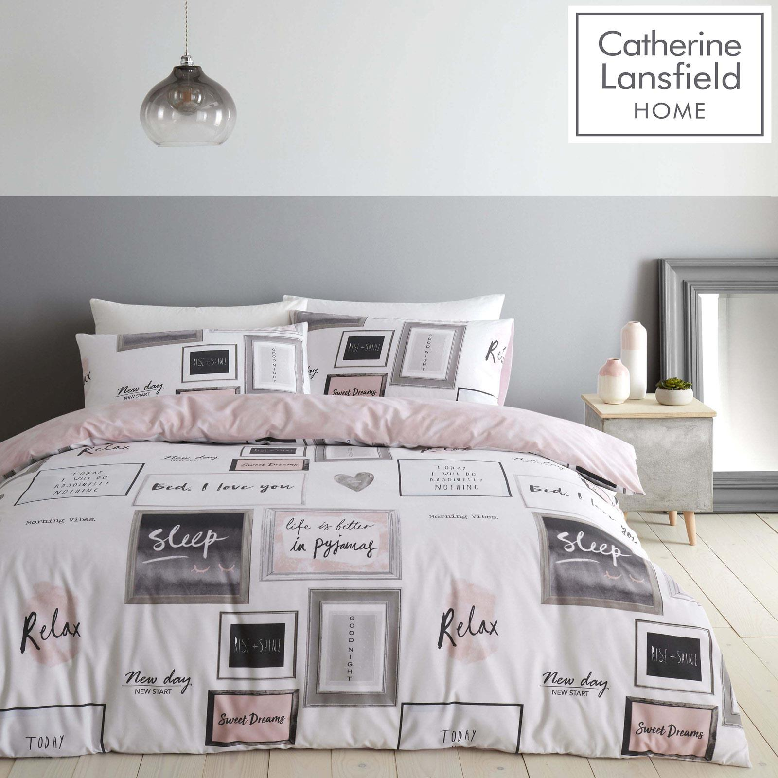 Catherine Lansfield Sleep Dreams Pink Duvet Covers Blush Quilt Cover Bedding Set Ebay