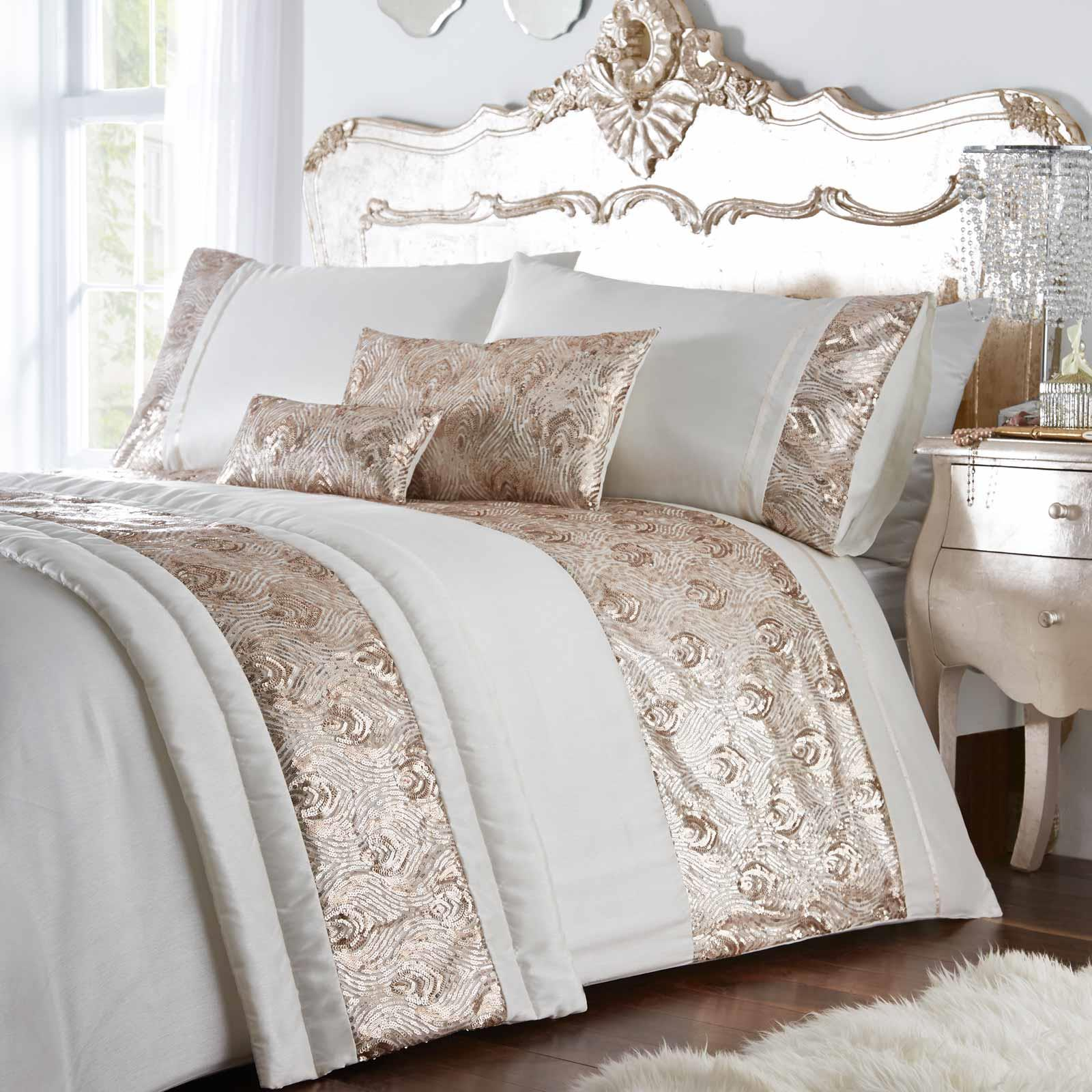 Gold Duvet Covers Cream Sequin Sparkle Glam Faux Silk Quilt Cover Bedding Sets Ebay