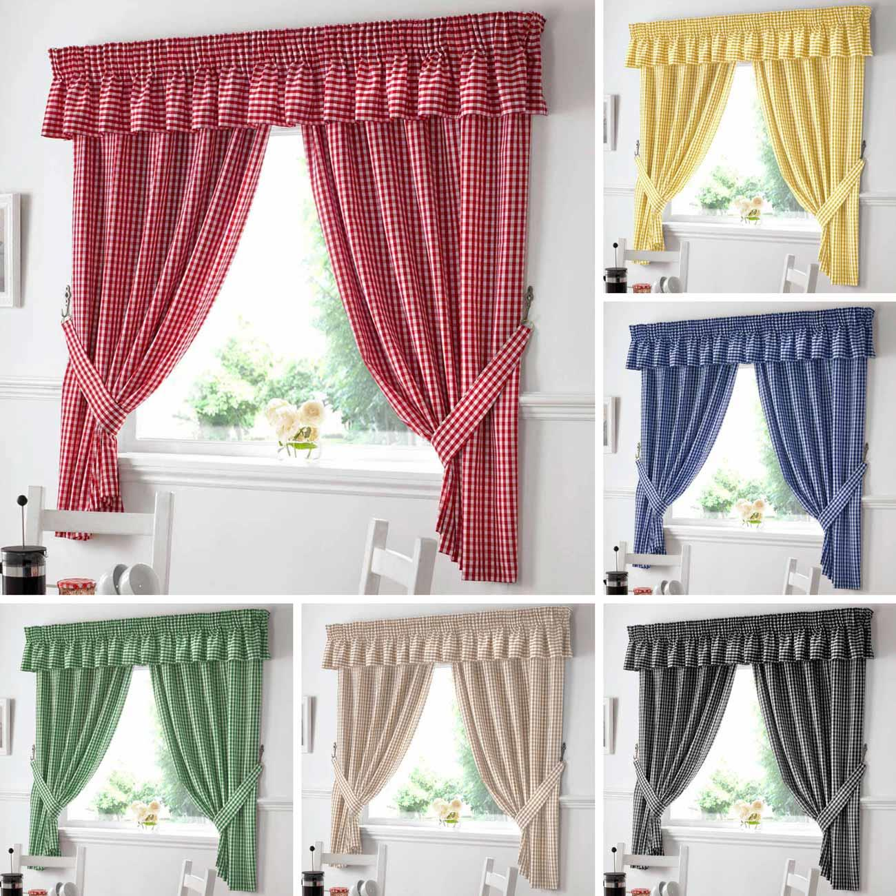 Gingham Check Kitchen Curtains Ready Made Pairs Curtains Pelmets Seat Pads Ebay