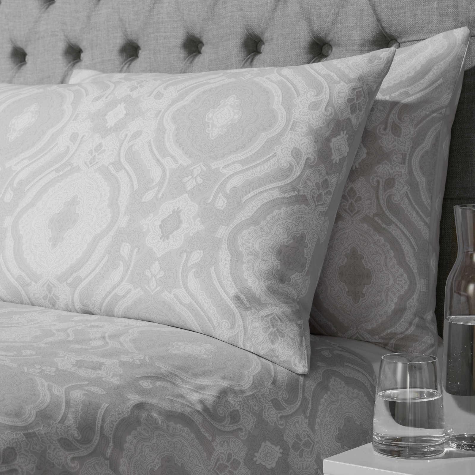 Grigio-Argento-Copripiumino-Stampato-Jacquard-Quilt-Set-Set-di-biancheria-da-letto-copre miniatura 4