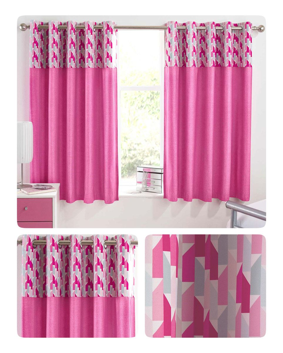 Details About Pink Blackout Curtains Vortex Eyelet Thermal Black Out Kids Bedroom Curtains