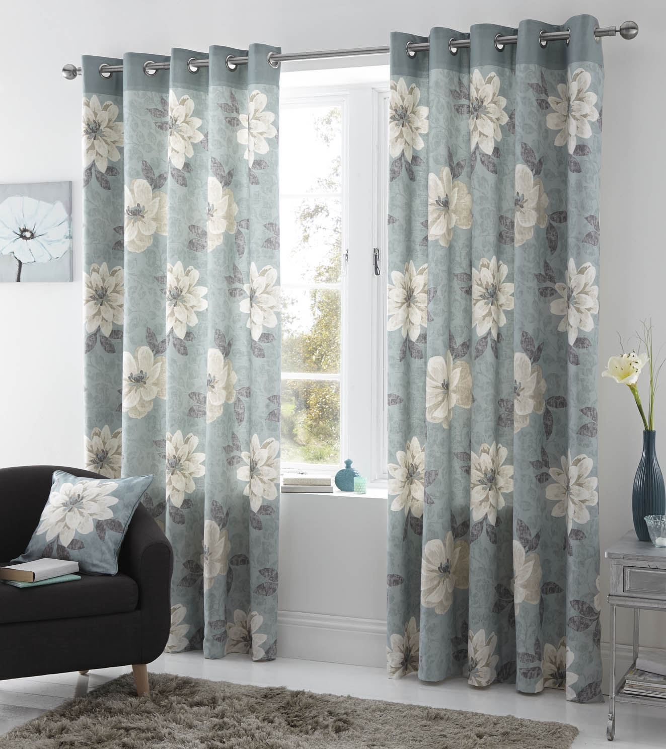 annabella lined eyelet curtains ready made ring top floral. Black Bedroom Furniture Sets. Home Design Ideas