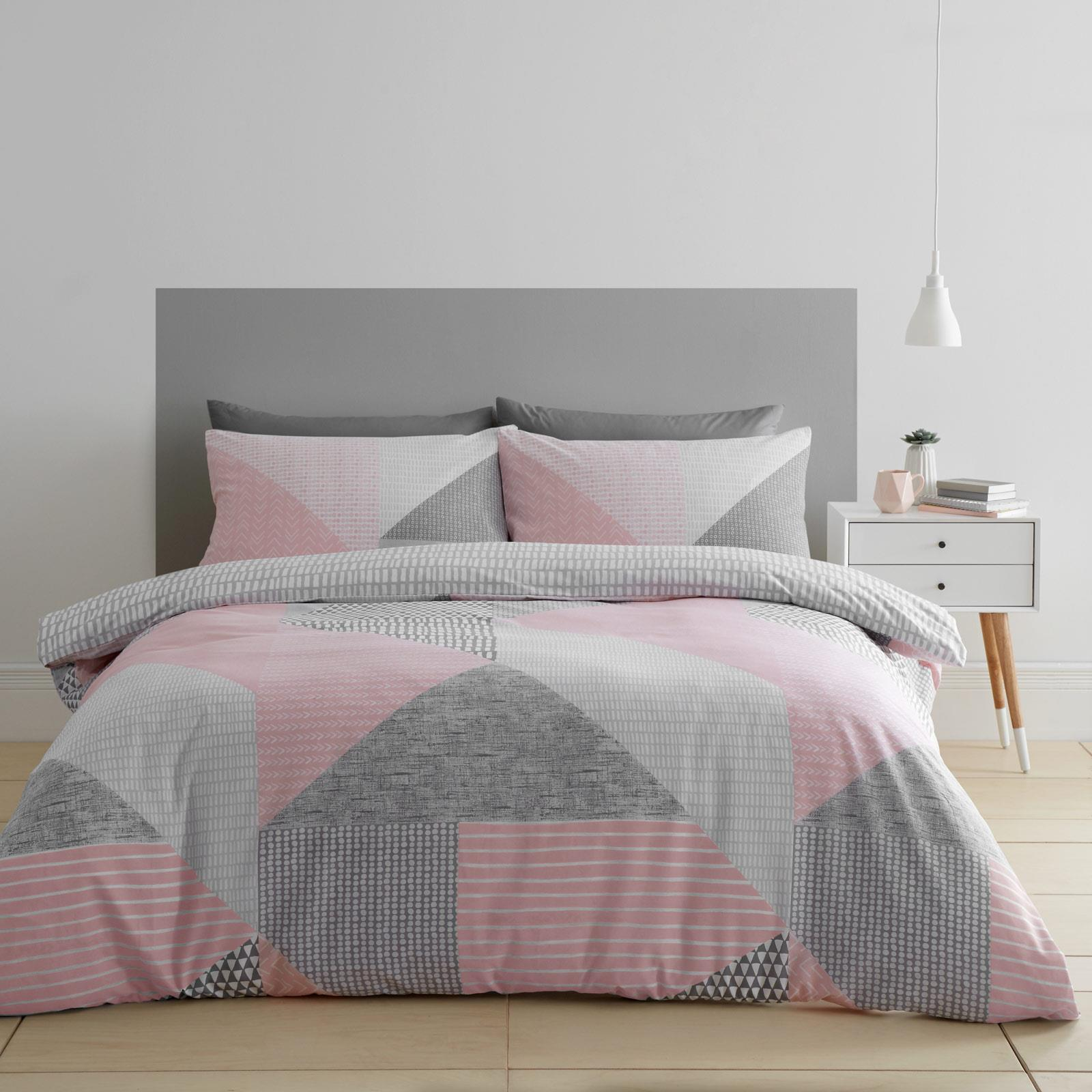 Catherine Lansfield Larsson Geo Blush Duvet Covers Pink Quilt Cover Bedding Sets Ebay
