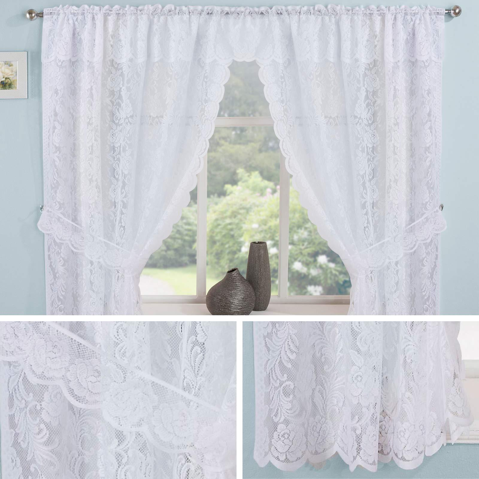 Lace Curtain Sets White Kew Complete Kitchen Window Floral Ready Made Curtains Ebay