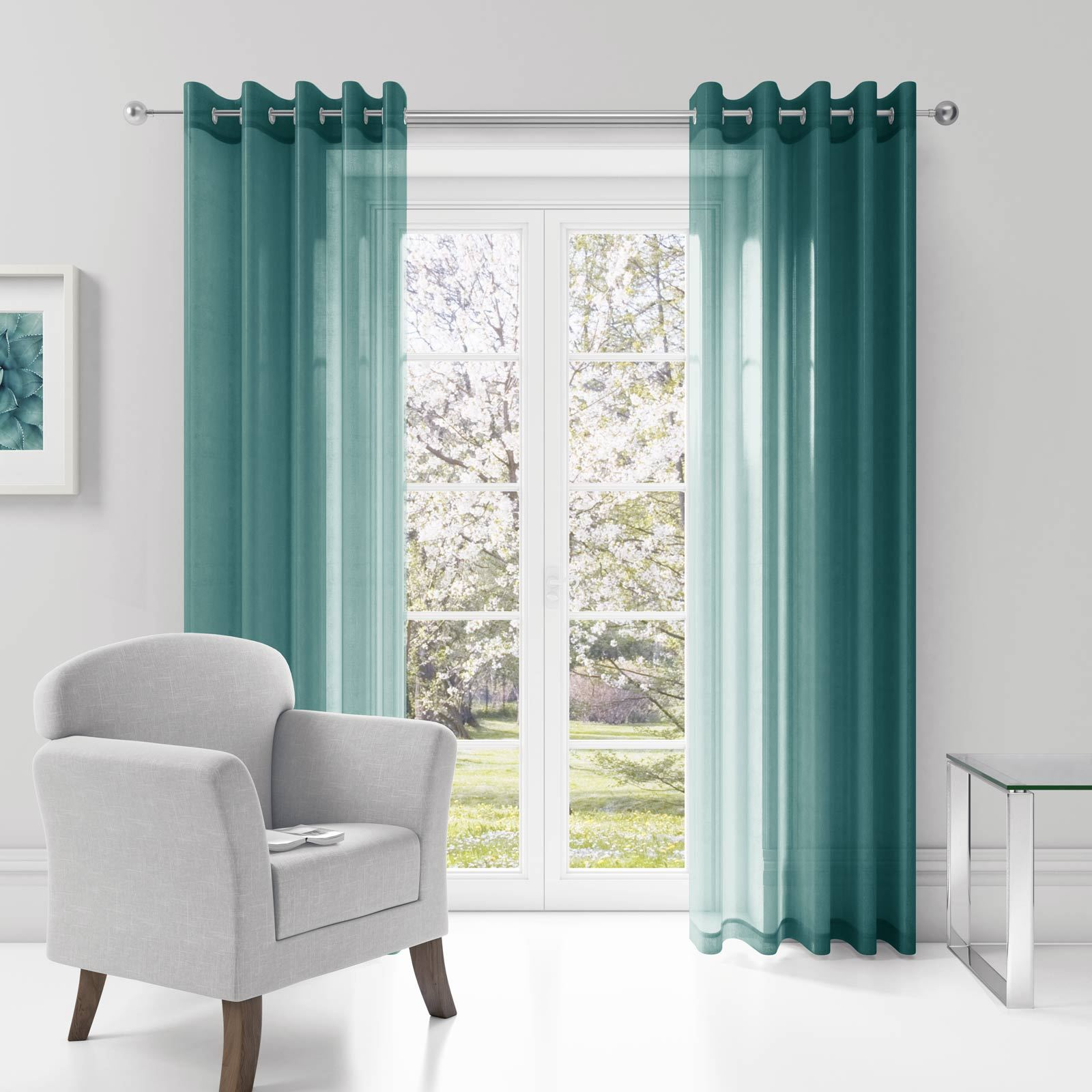 ring top eyelet voile panel ready made sheer window door. Black Bedroom Furniture Sets. Home Design Ideas