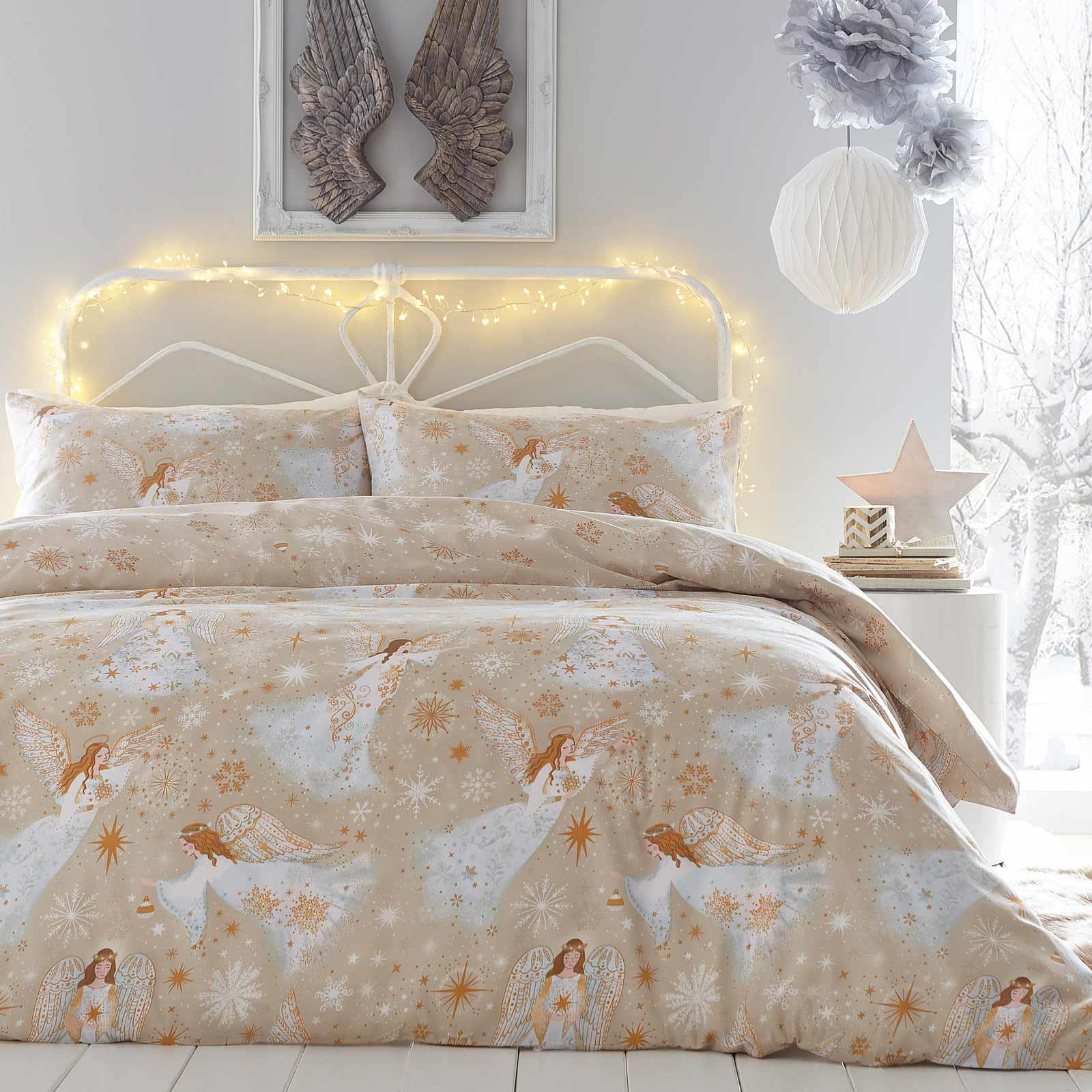 Gold Duvet Covers Christmas Angels Snowflake Stars Quilt Cover Bedding Sets Ebay