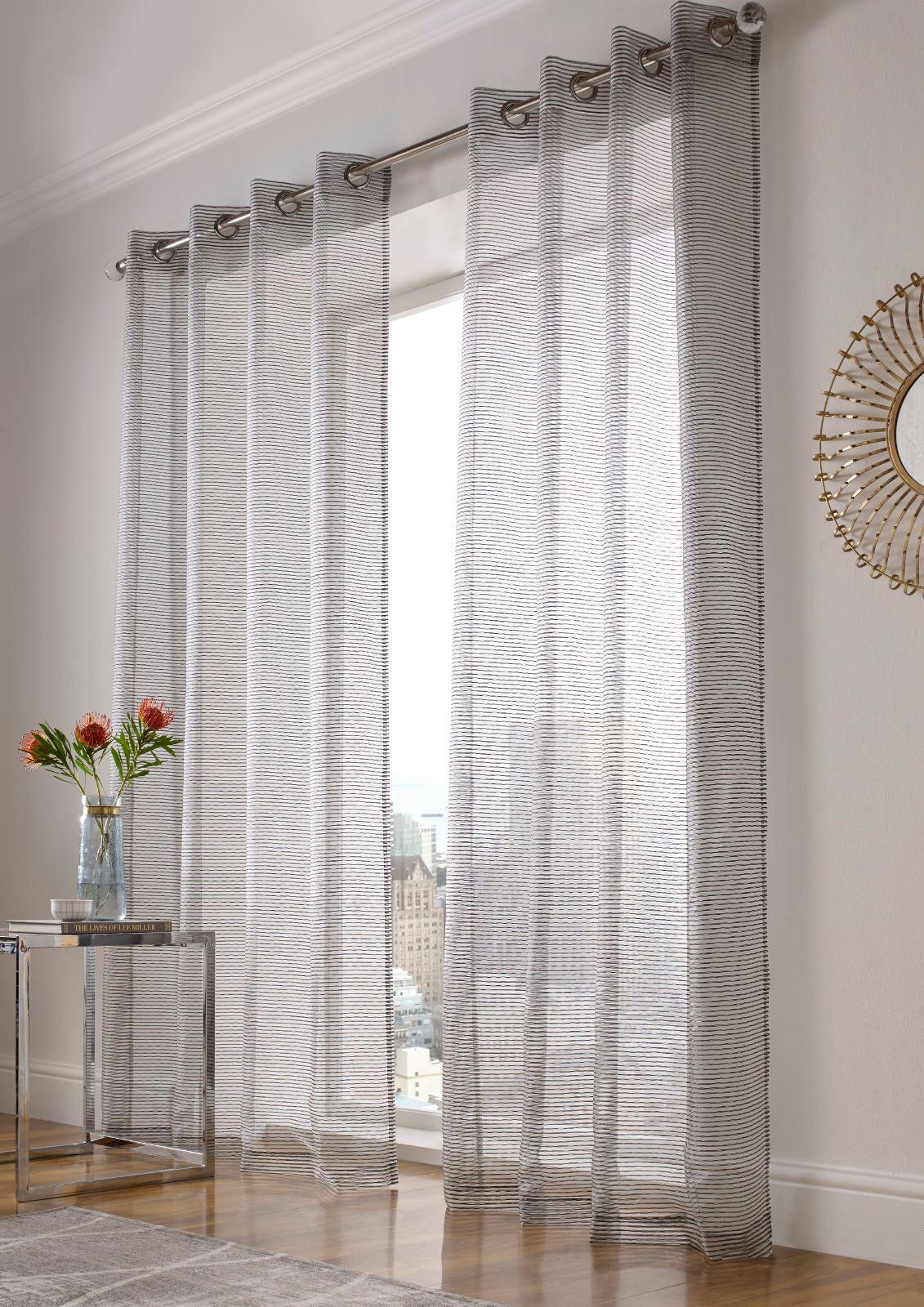 atlanta sparkle stripe eyelet voile curtain bling ready. Black Bedroom Furniture Sets. Home Design Ideas