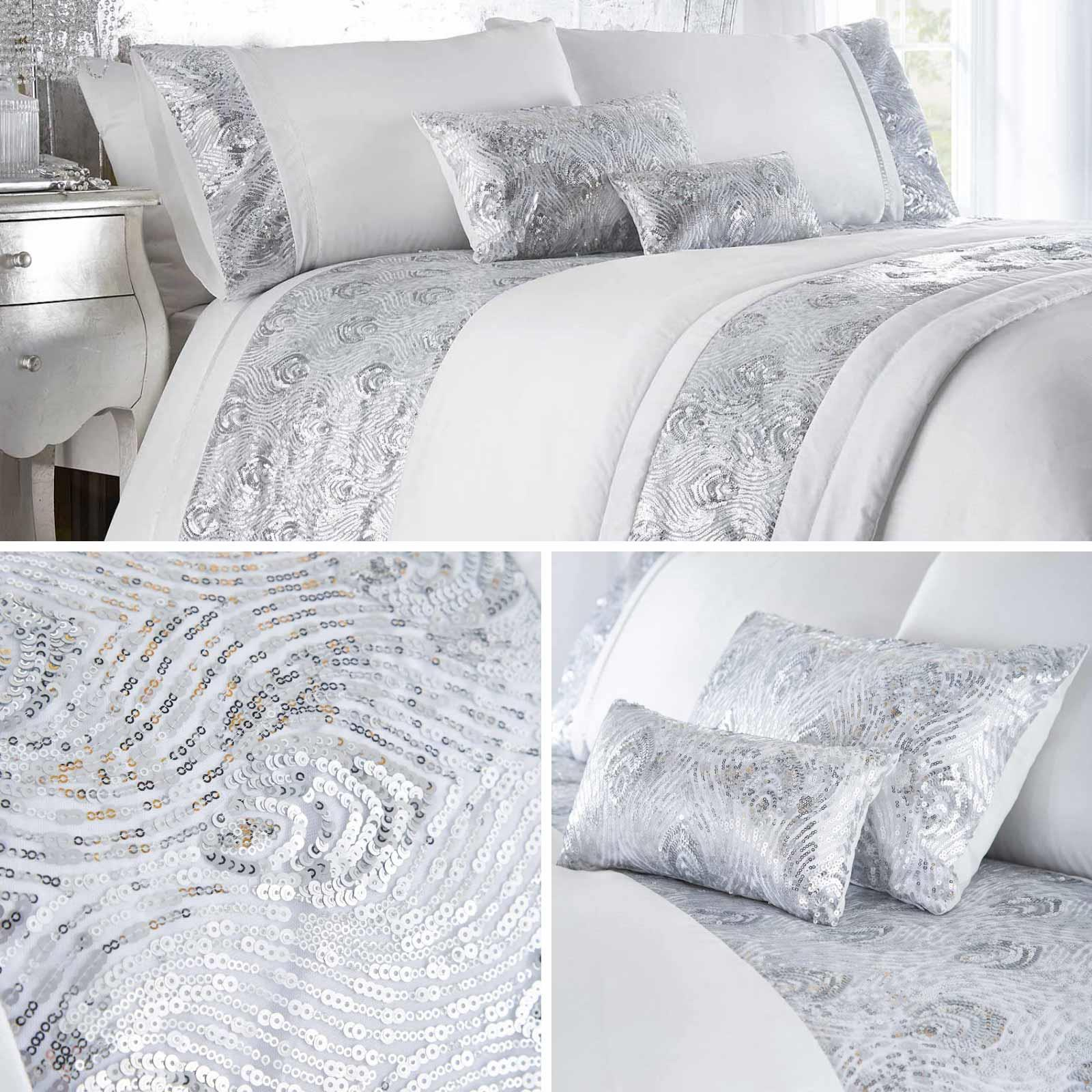 Silver Duvet Covers White Sequin Sparkle Glam Faux Silk Quilt Cover Bedding Sets Ebay