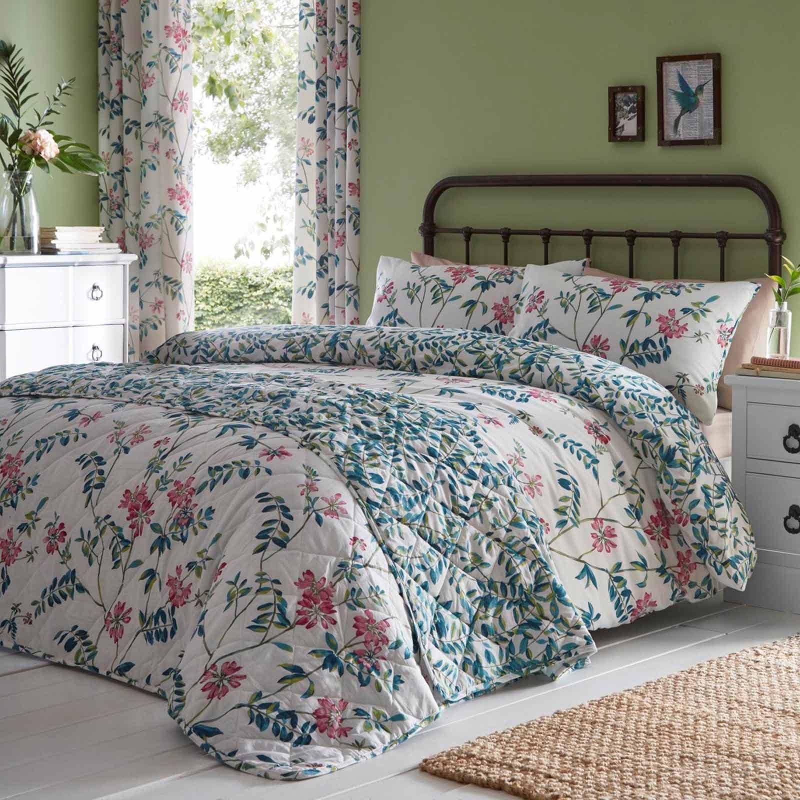 Teal Duvet Covers Marinelli Vintage Floral Printed Easy Care Quilt Bedding Sets Duvet Covers Bedding Sets