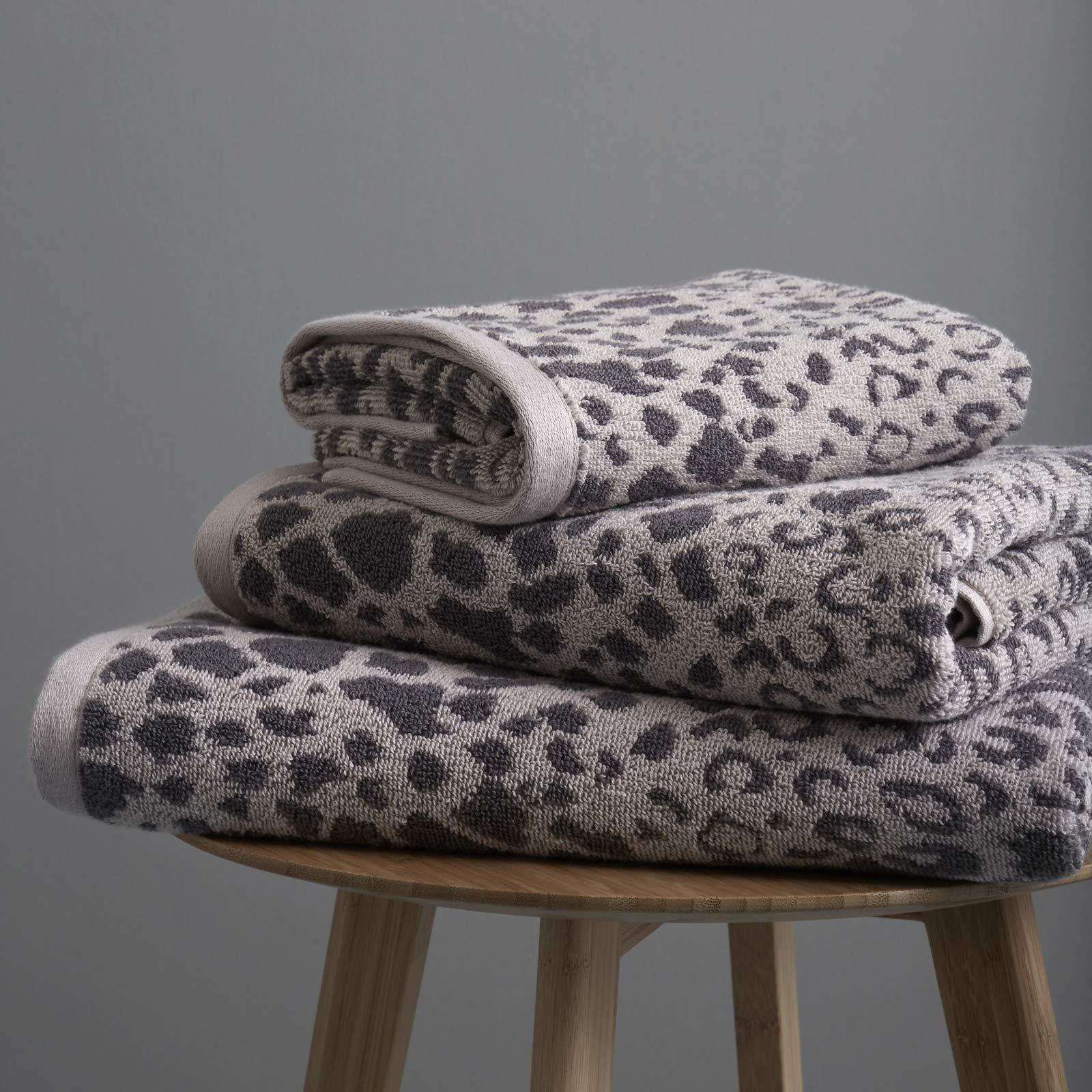 Catherine Lansfield Sengeti Leopard Print Grey Towels ...