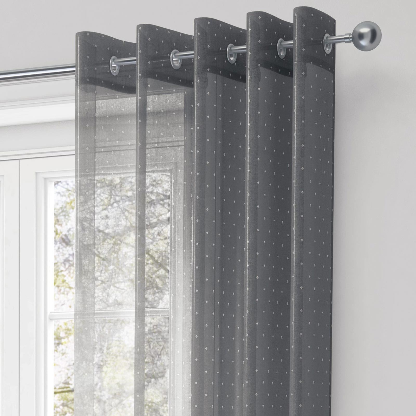 chicago voile curtain panel metallic sparkle eyelet ready. Black Bedroom Furniture Sets. Home Design Ideas