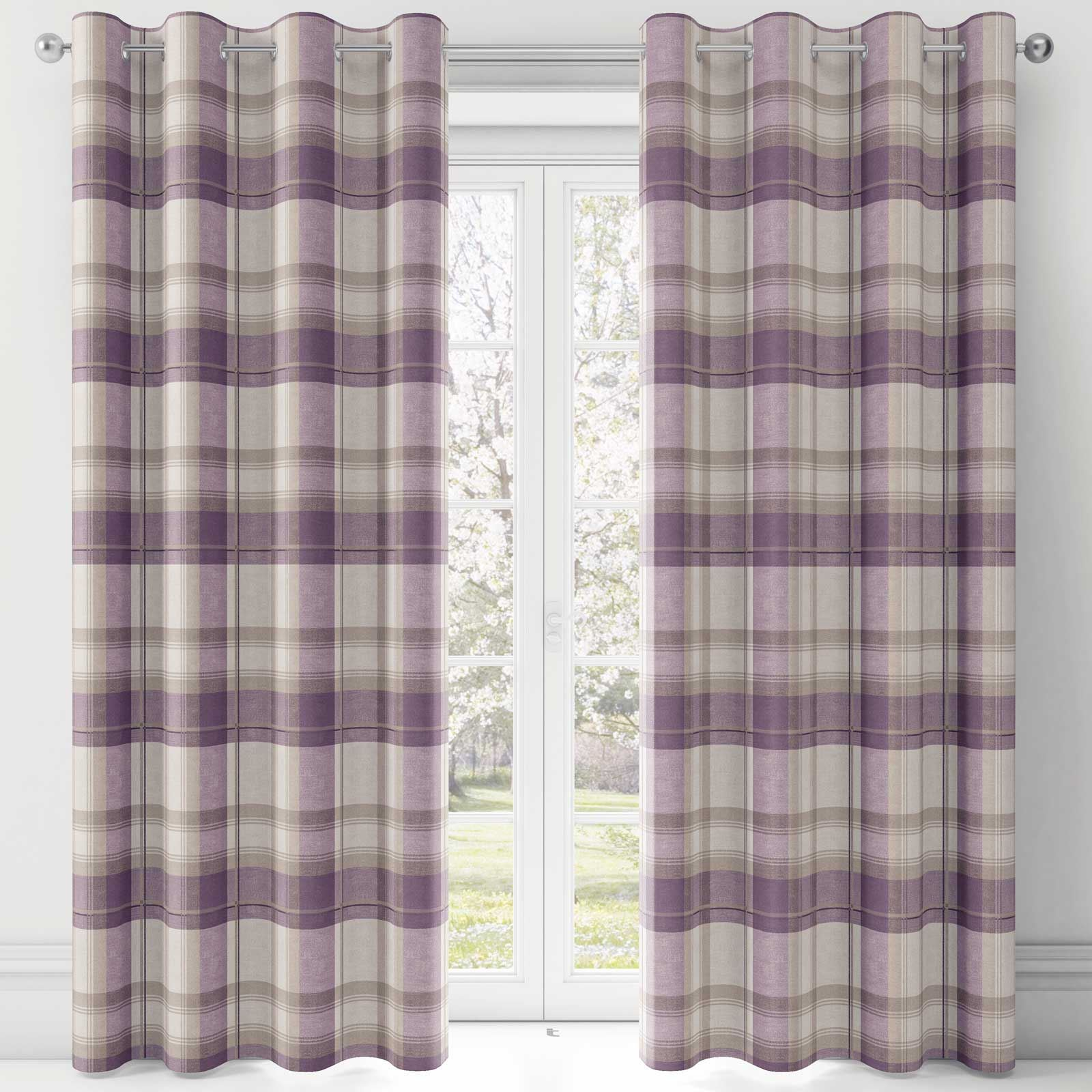 Purple Eyelet Curtains Balmoral Tartan Check Plum Lined
