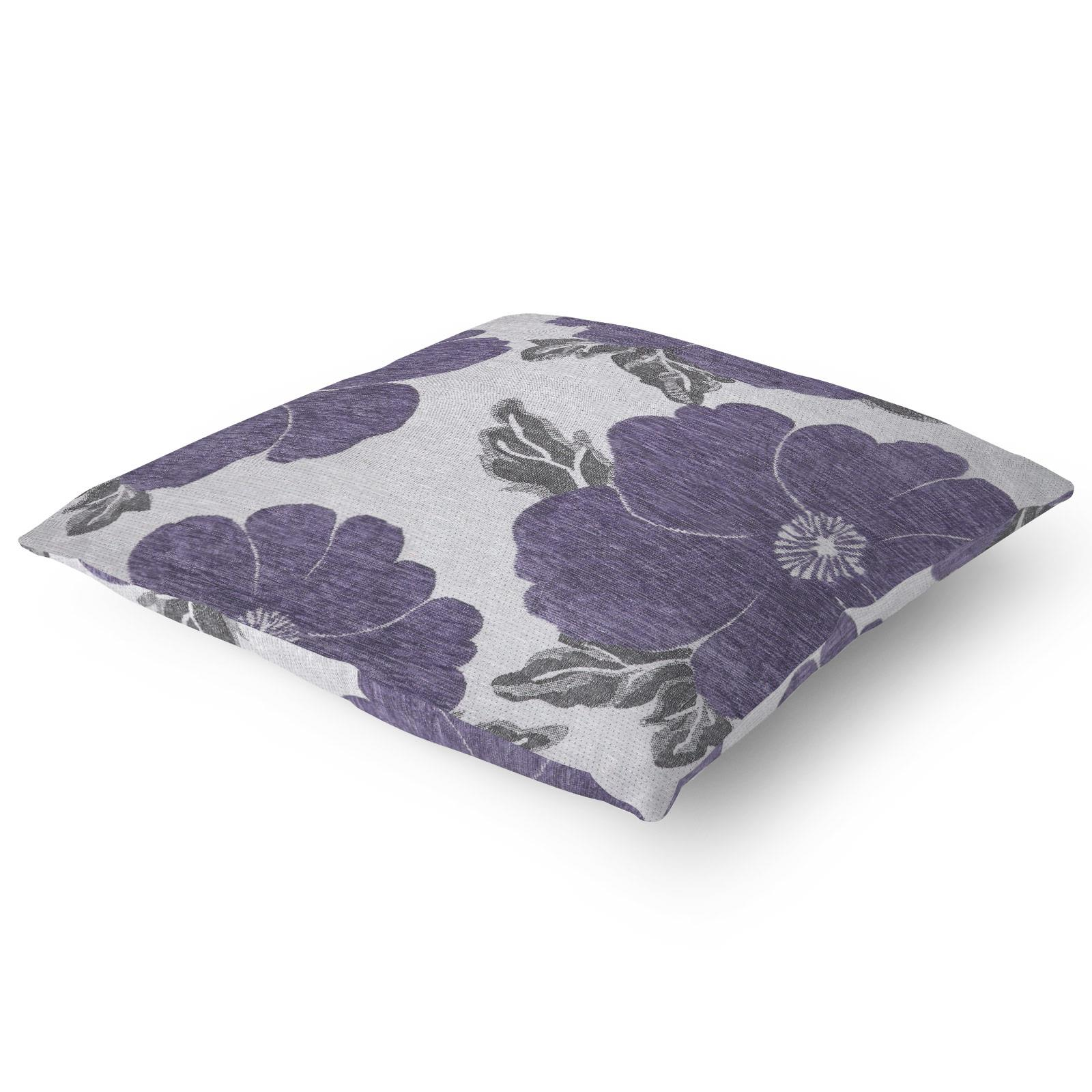 Chenille-Cushion-Cover-Floral-Reversible-Thick-Cushions-Covers-18-034-22-034-9-Colours thumbnail 51