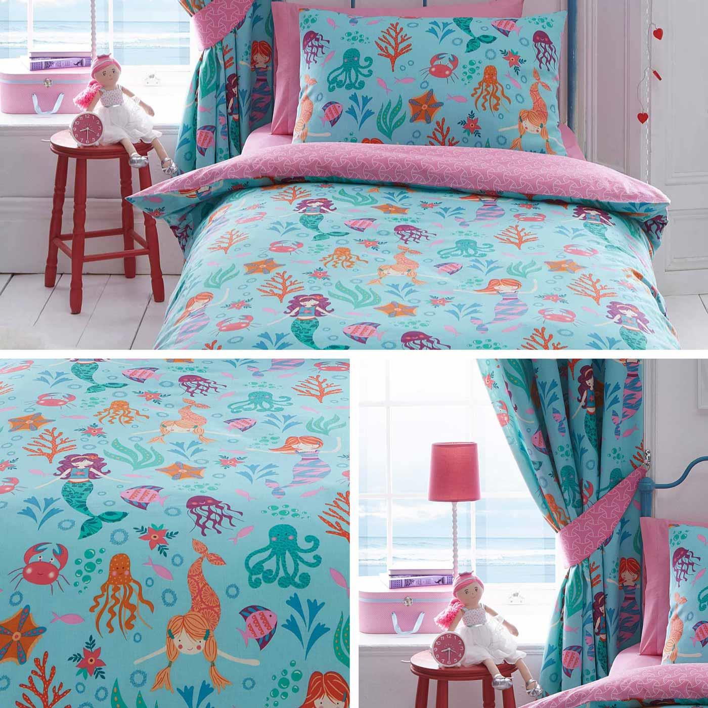 Blue Duvet Covers Mermaids Underwater Pink Kids Quilt Cover Bedding Sets Ebay