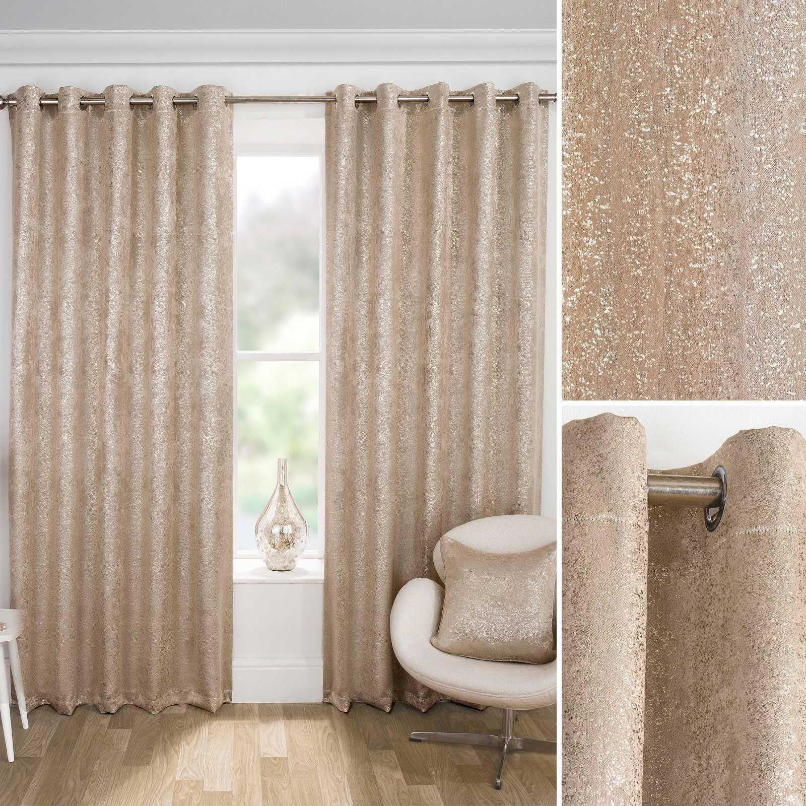 Gold Eyelet Curtains Halo Thermal Blackout Shimmer Sparkle RingTop Curtain Panel
