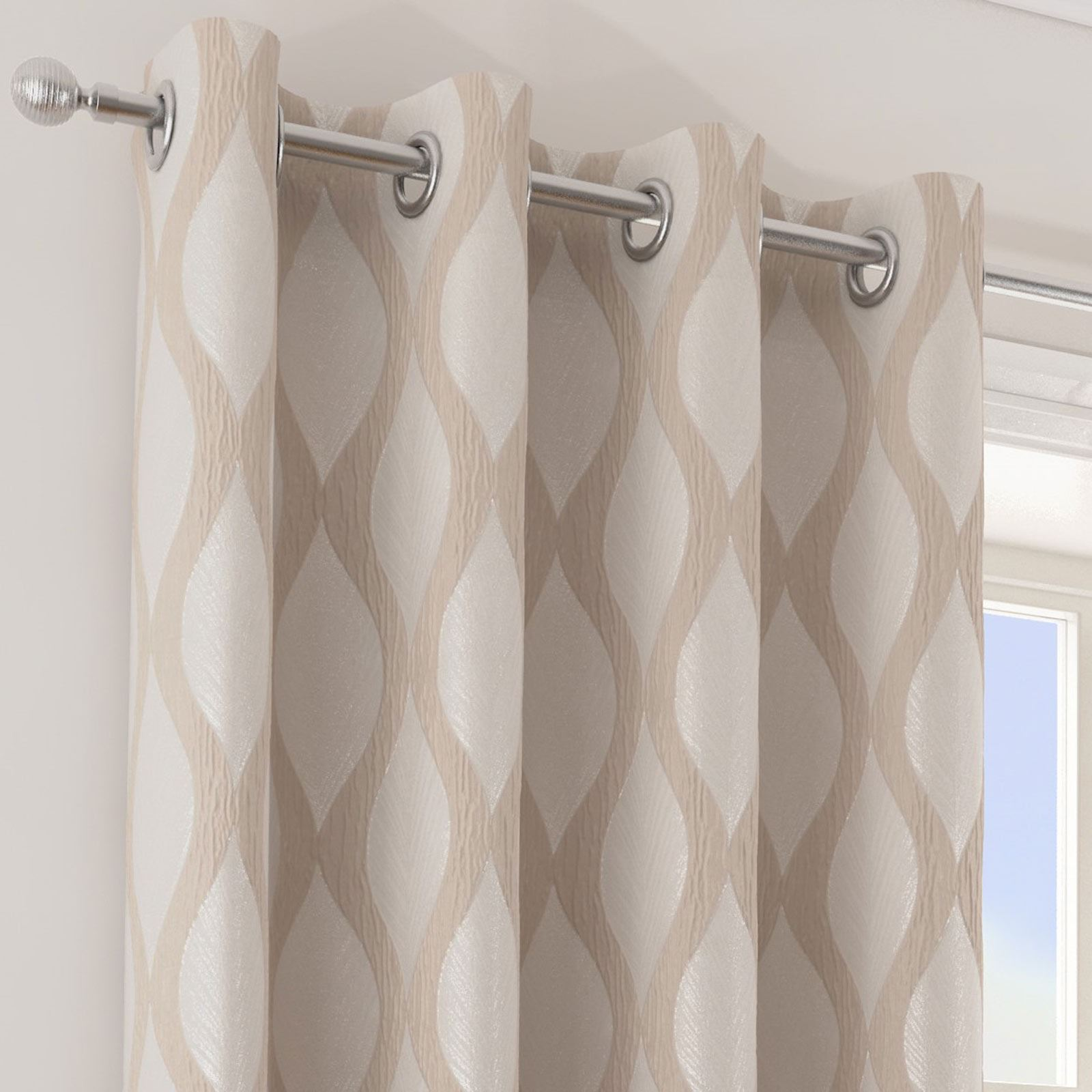 Deco-Lined-Eyelet-Curtains-Retro-Wave-Metallic-Sheen-Ring-Top-Curtain-Pairs