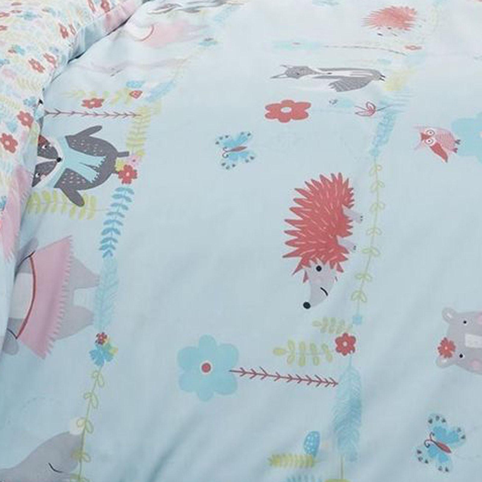 Kids-Duvet-Covers-Blue-Woodland-Animals-Cute-Reversible-Print-Quilt-Bedding-Sets thumbnail 9