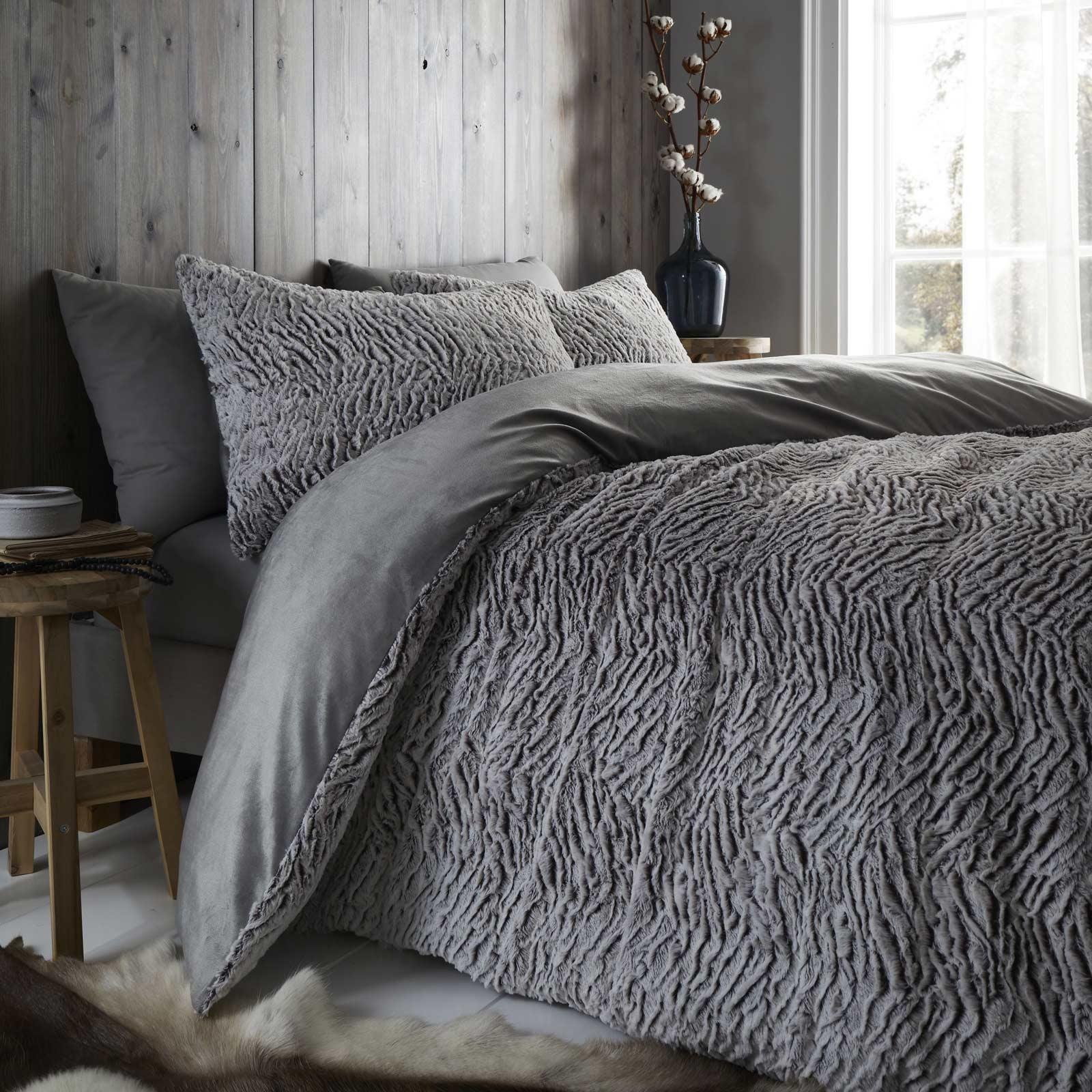 Catherine Lansfield Wolf Neutral Duvet Covers Faux Fur Fleece Quilt Bedding Sets Ebay