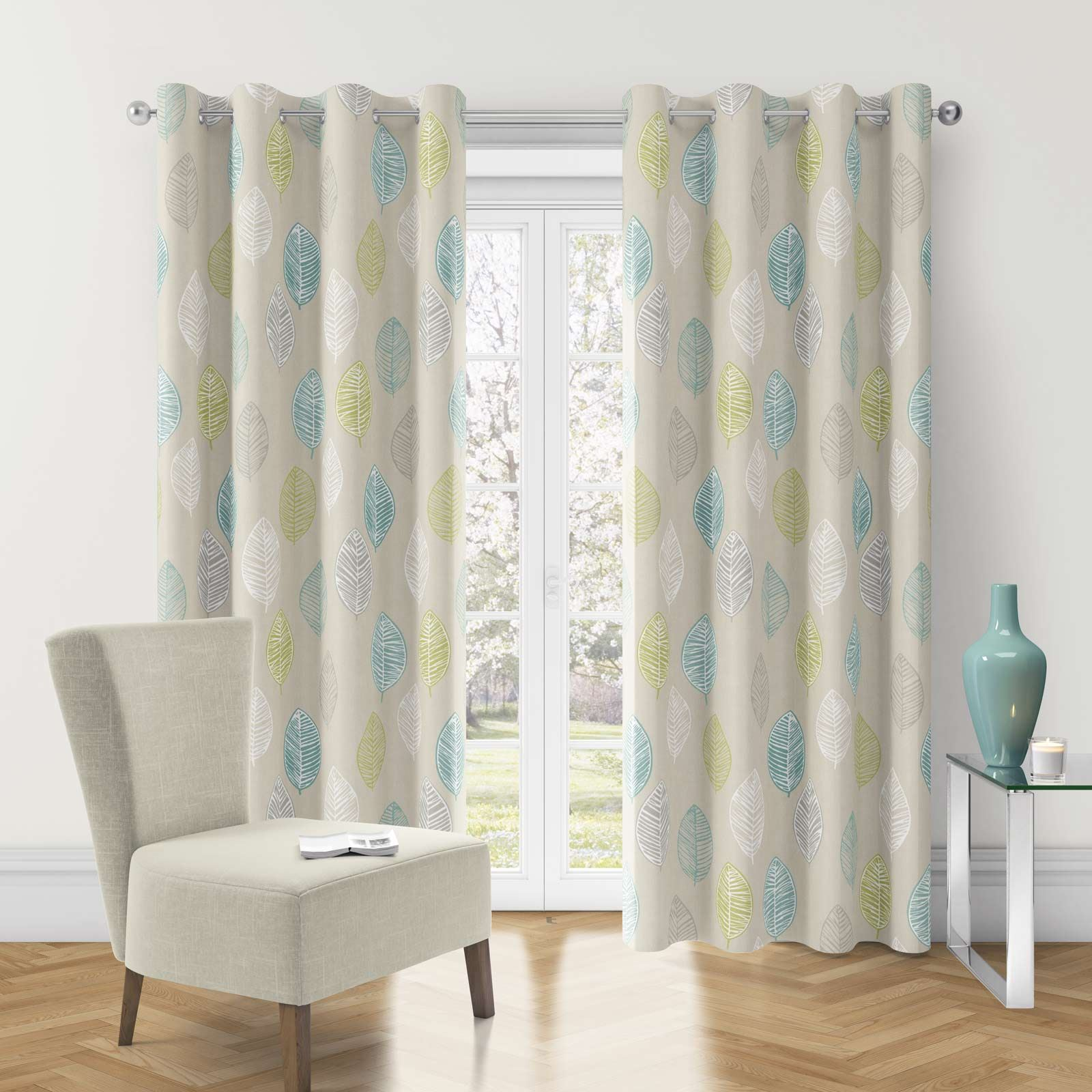 blue eyelet curtains navy duck egg ready made ring top. Black Bedroom Furniture Sets. Home Design Ideas