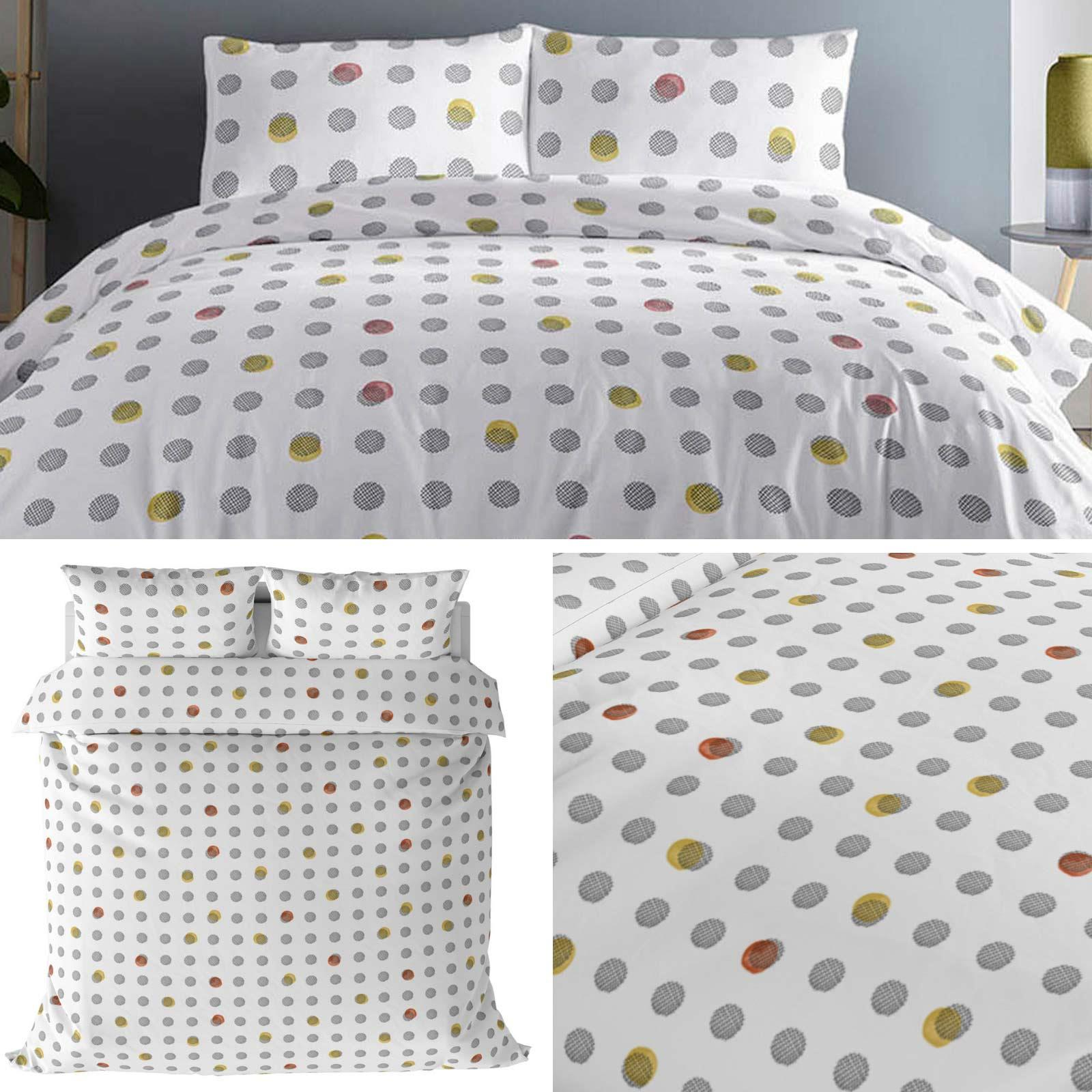 Details About White Duvet Covers Grey Ochre Spotted Dot Bright Modern Quilt Cover Bedding Sets