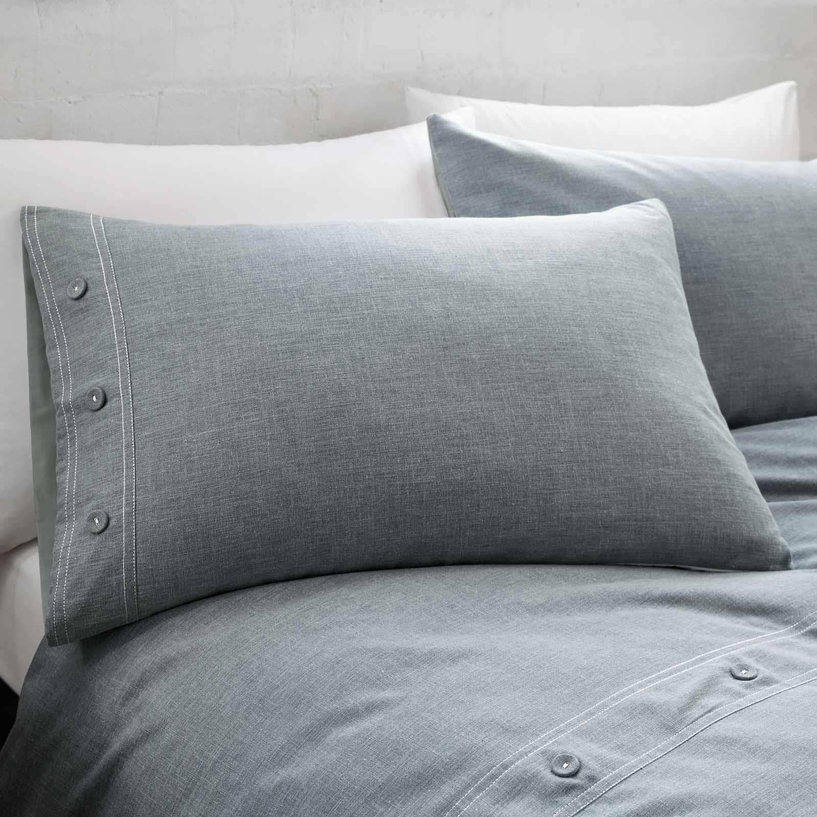 Azul-fundas-nordicas-Denim-Chambray-Boton-Detalle-de-lujo-cubierta-del-edredon-conjuntos-de-cama miniatura 11