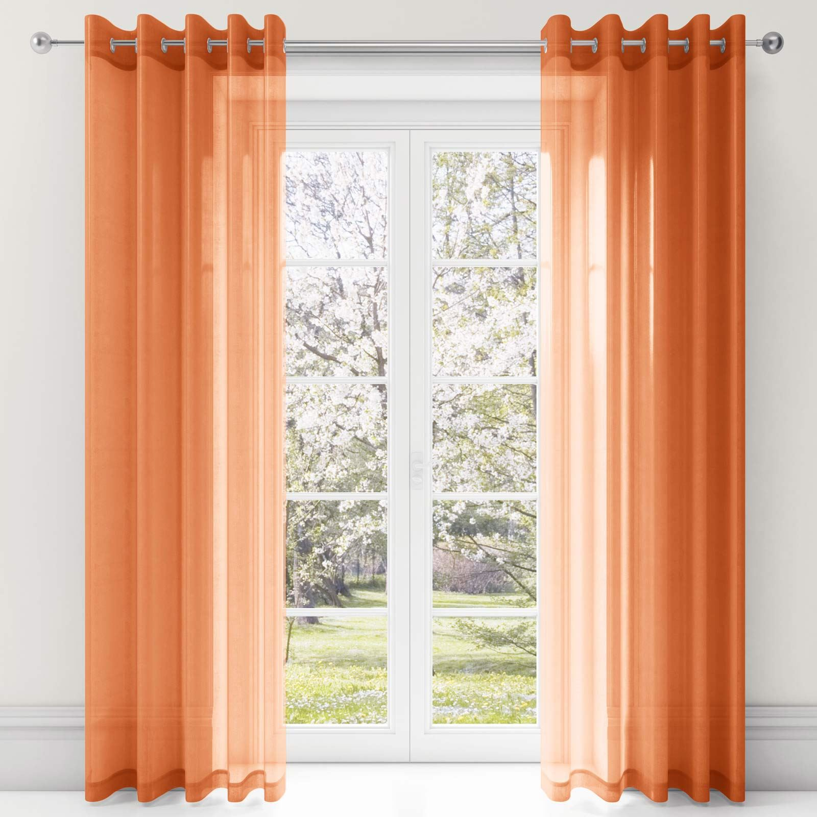 plain dyed voile curtain panels ready made ring top eyelet. Black Bedroom Furniture Sets. Home Design Ideas
