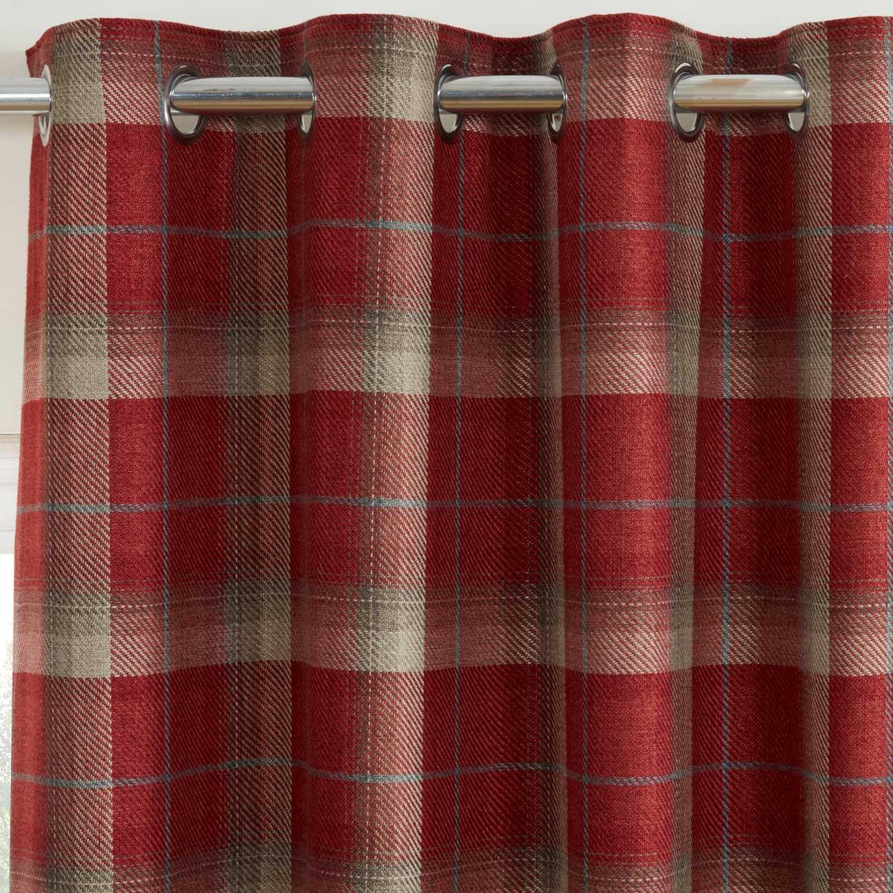 Cortinas-DE-ORIFICIOS-Rojo-Blackout-Tartan-Check-Ready-Made-acogedor-Anillo-Superior-Cortina-Pares miniatura 13