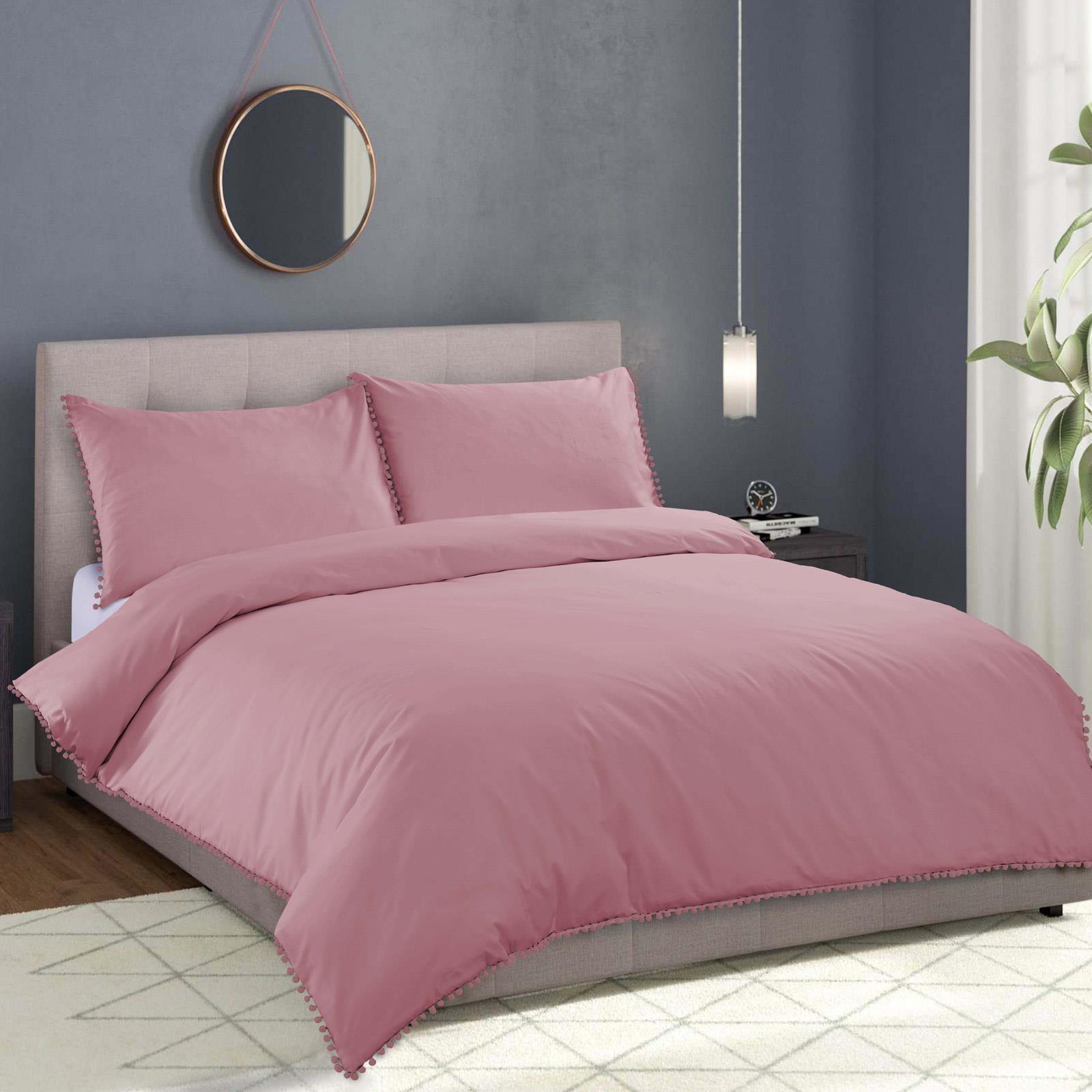 NEW Plain Pom Pom Luxury Bedding Duvet Quilt Cover Pillowcases All Sizes