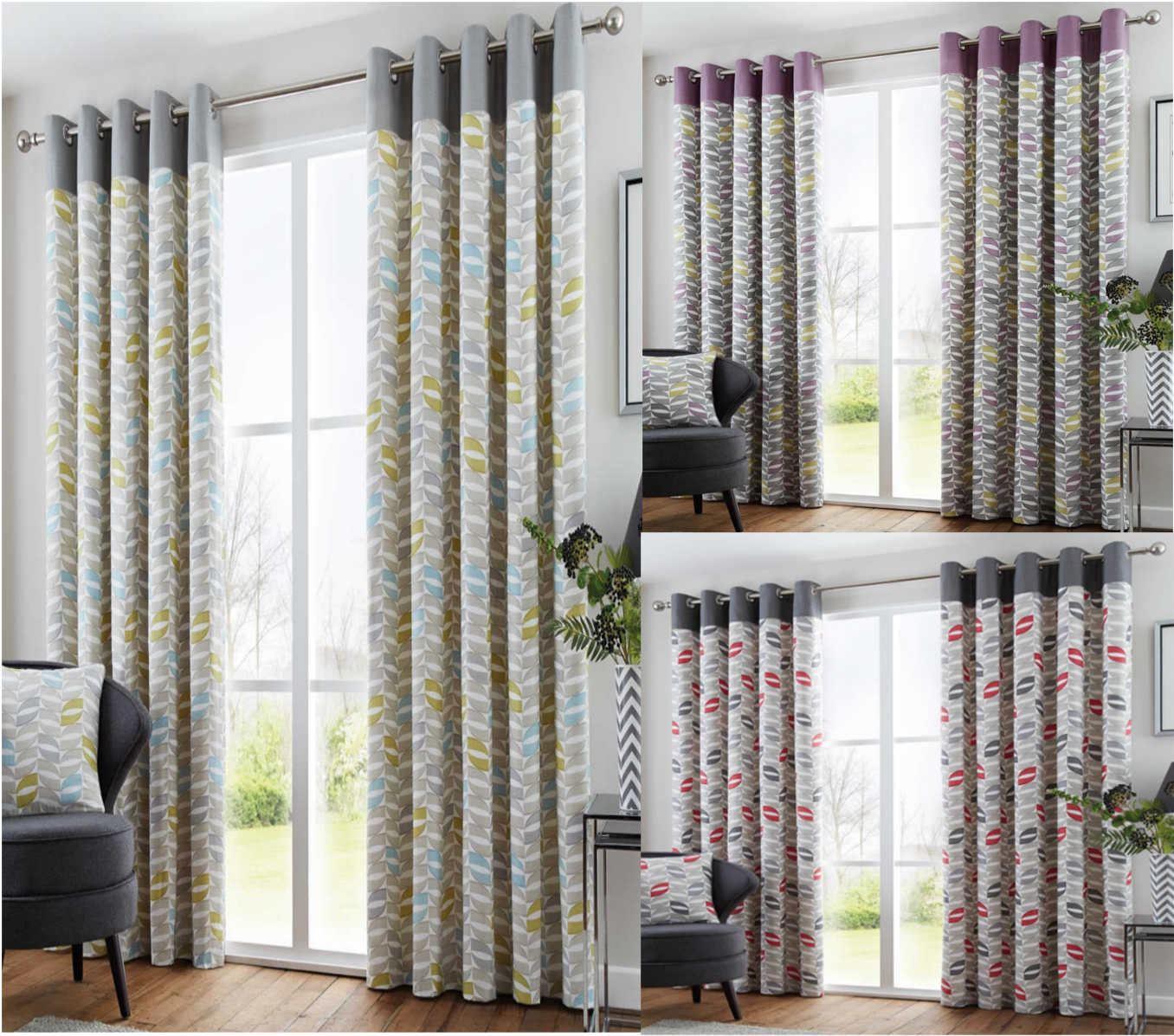 Copeland Geometric Retro Lined Eyelet Curtains Ready Made Ringtop Pairs Ebay