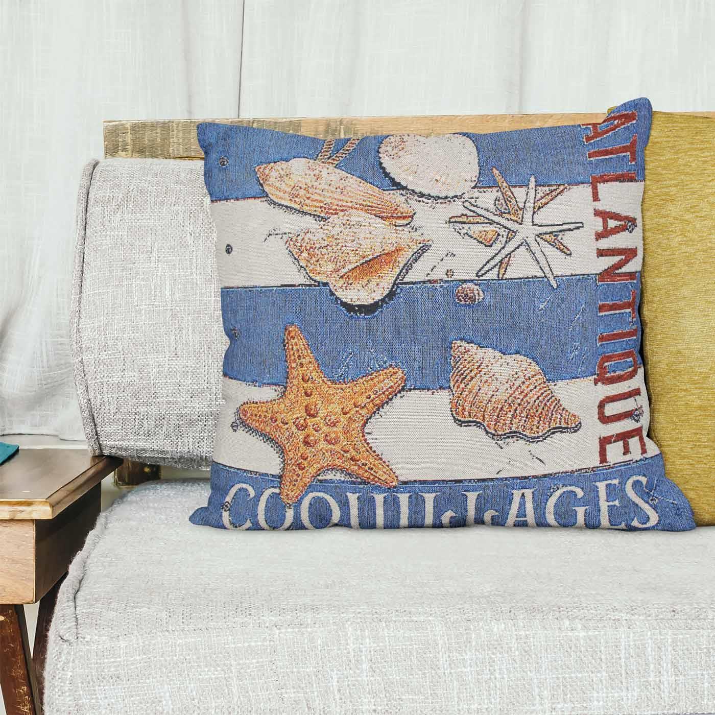 "Tapestry Cushion Covers Seaside Beach Nautical Vintage Throw Cushions 18/"" x 18/"""