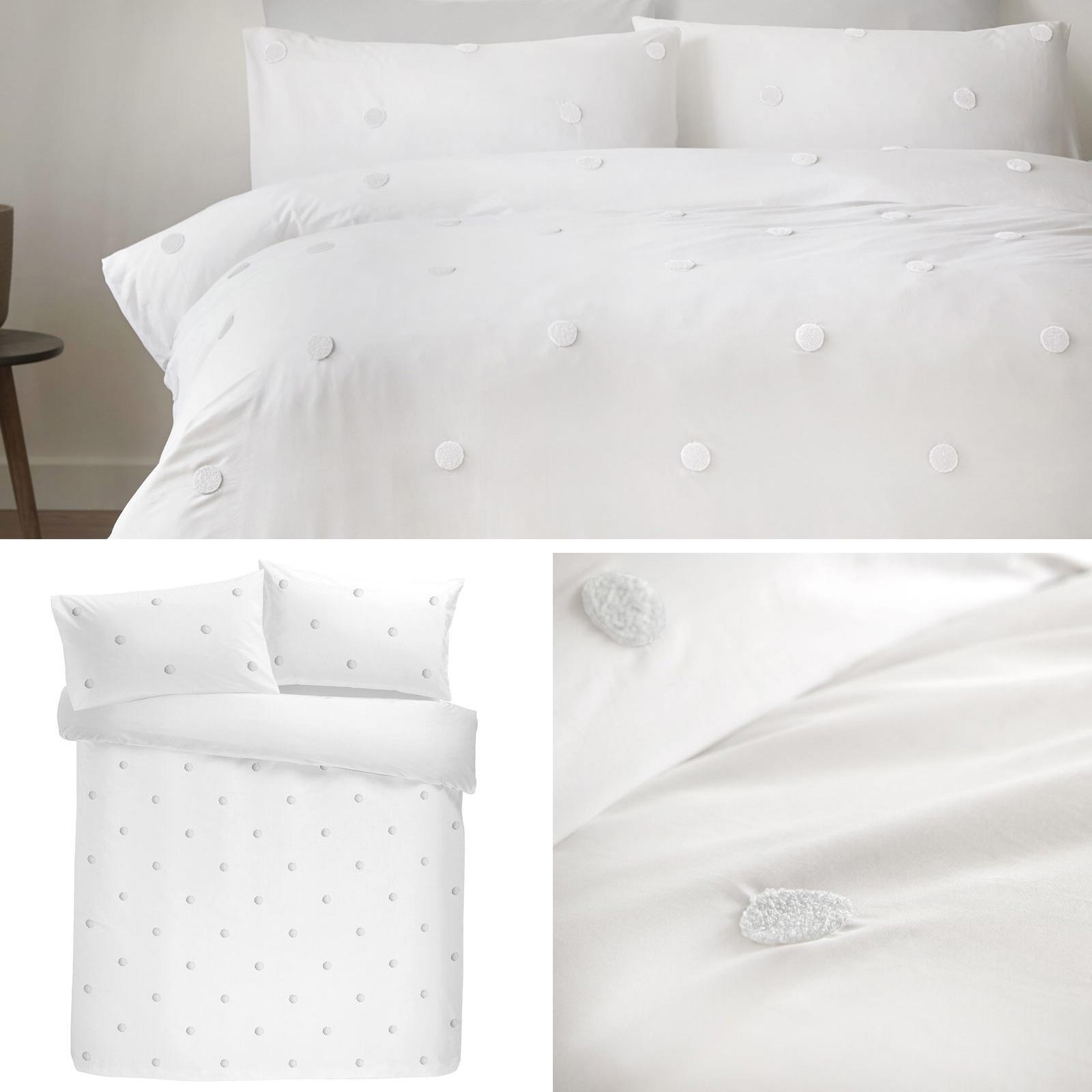 White Duvet Covers Tufted Spots 100 Cotton Textured Quilt Cover Bedding Sets Ebay