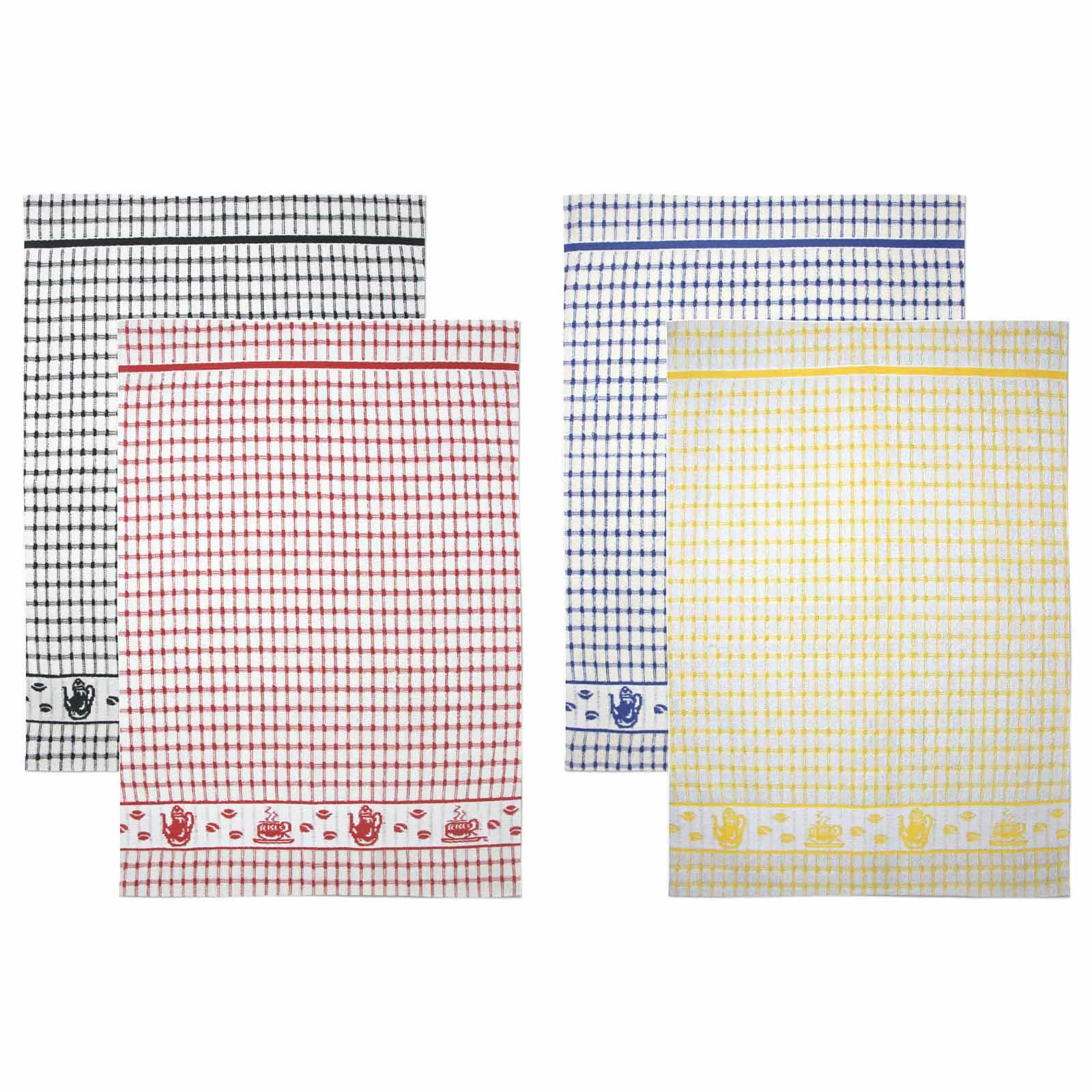 Packs-of-2-4-6-12-Tea-Towels-100-Cotton-Terry-Kitchen-Dish-Drying-Towel-Sets thumbnail 76