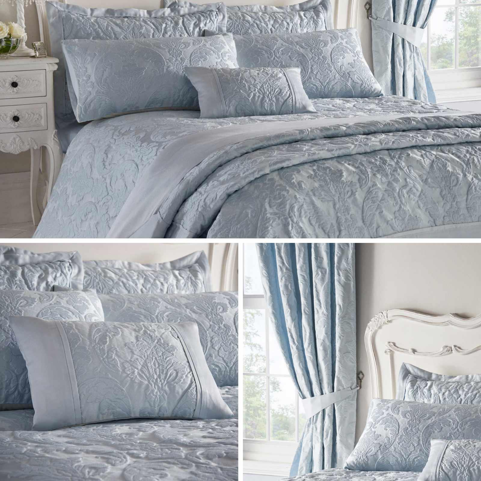 Blue Duvet Covers Damask Textured Jacquard Quilt Sets Luxury Bedding Collection Ebay