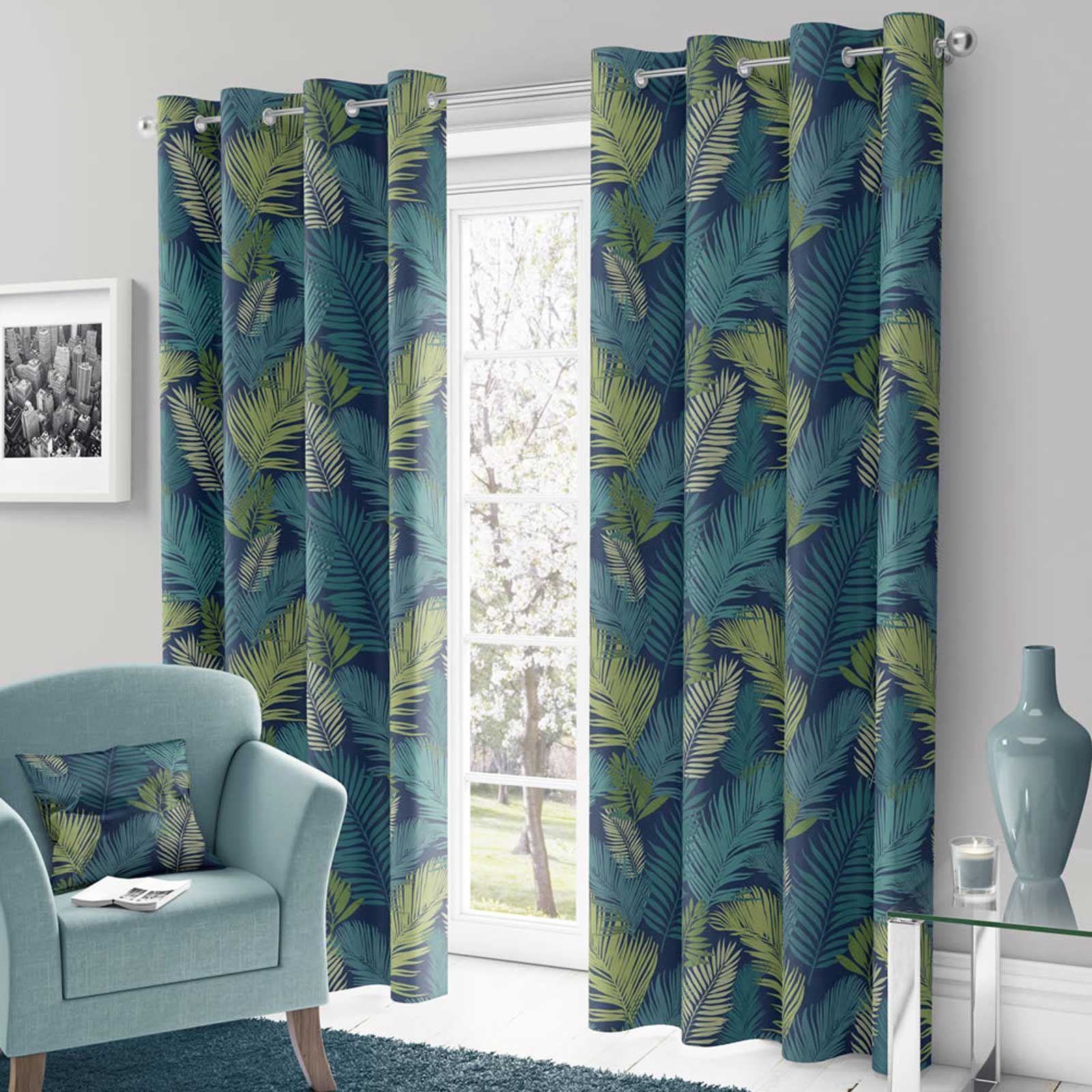 Teal Eyelet Curtains Green Tropical Palm Ready Made Lined