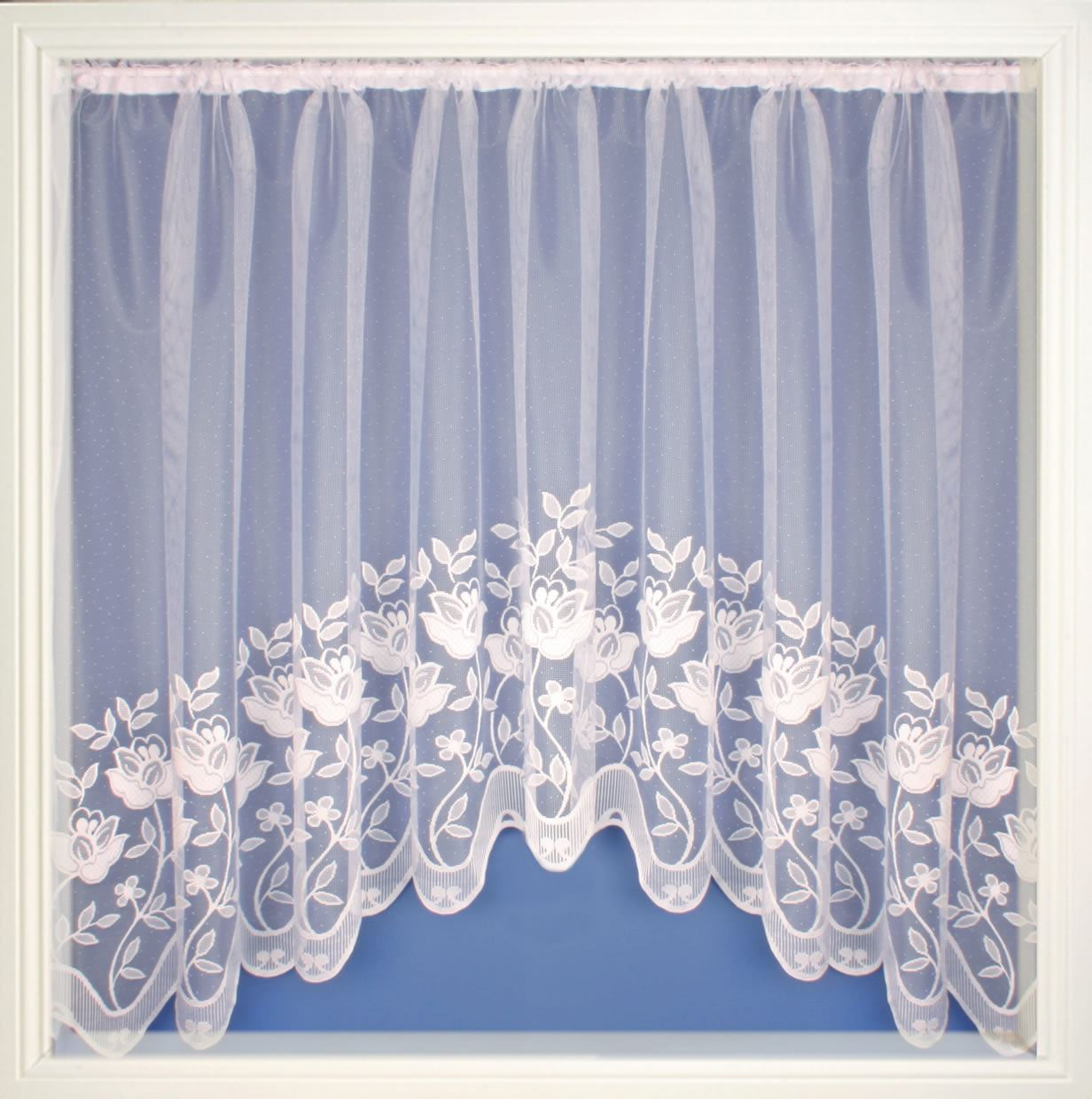 Luxury Net Curtain Jardiniere Ready Made White Lace Curtain Panels Ebay