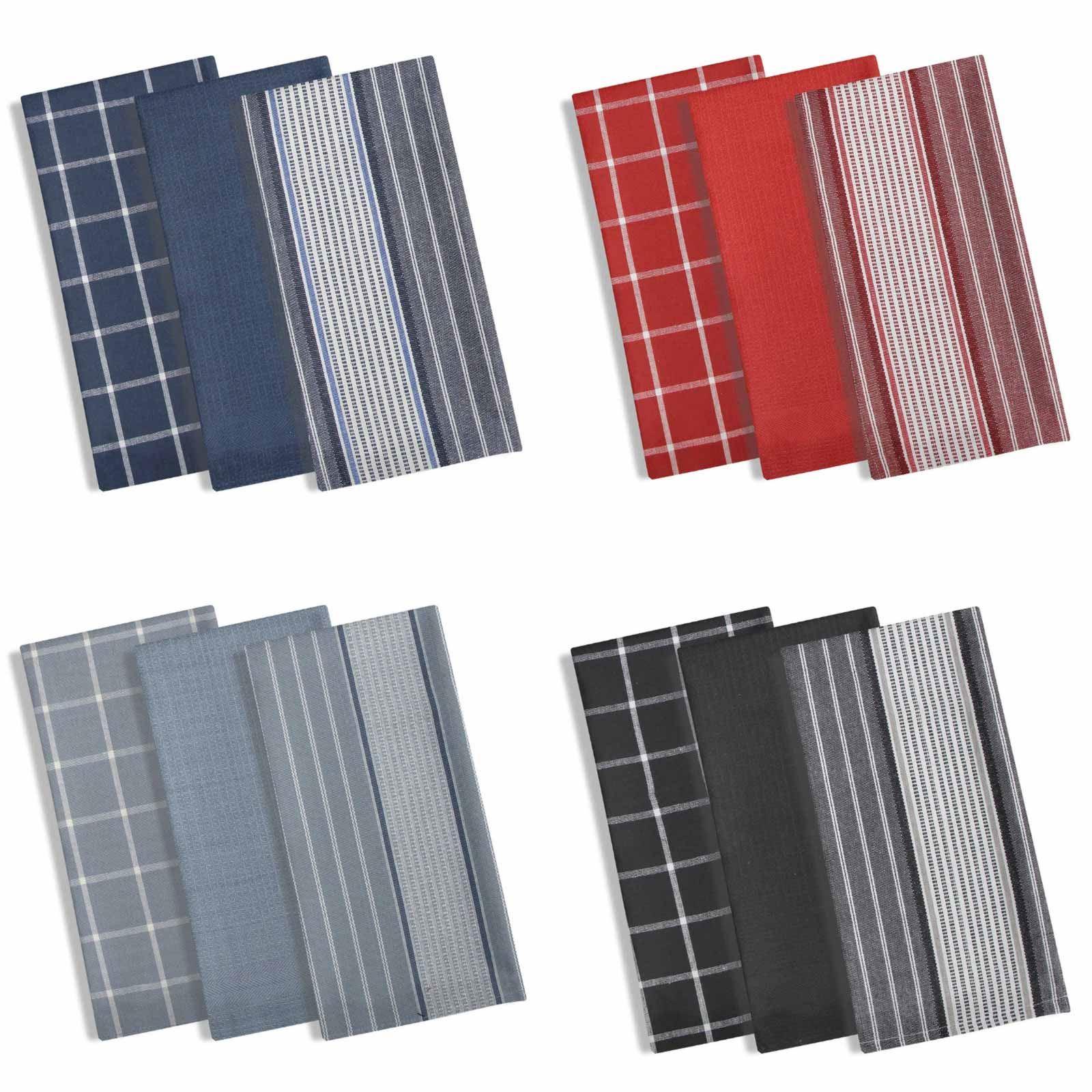 Details About Set Of 3 Kitchen Tea Towels Set Manhattan Stripe Dish Towel Set 100 Cotton