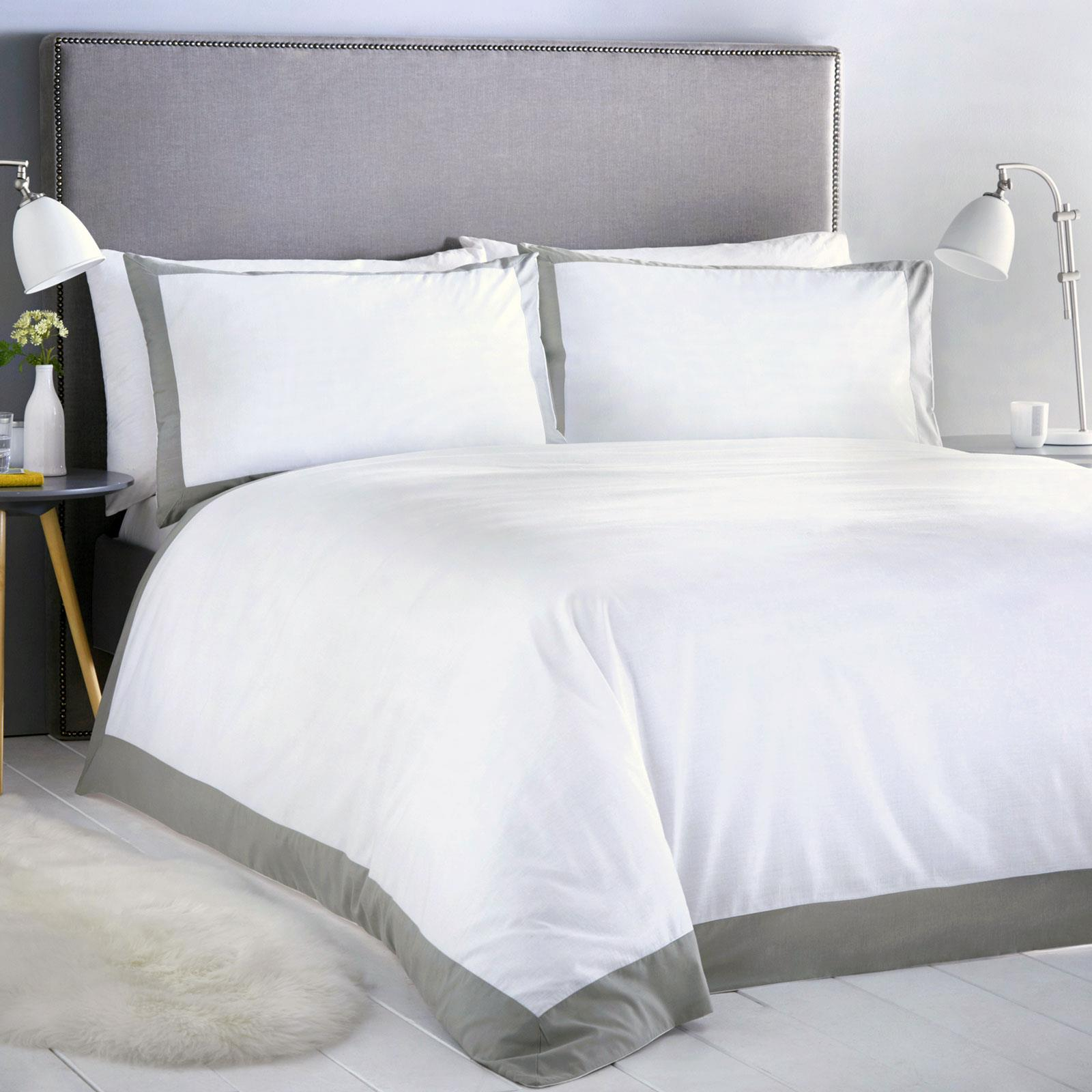 White Duvet Covers Grey Plain Dyed Bordered Hotel Style Quilt