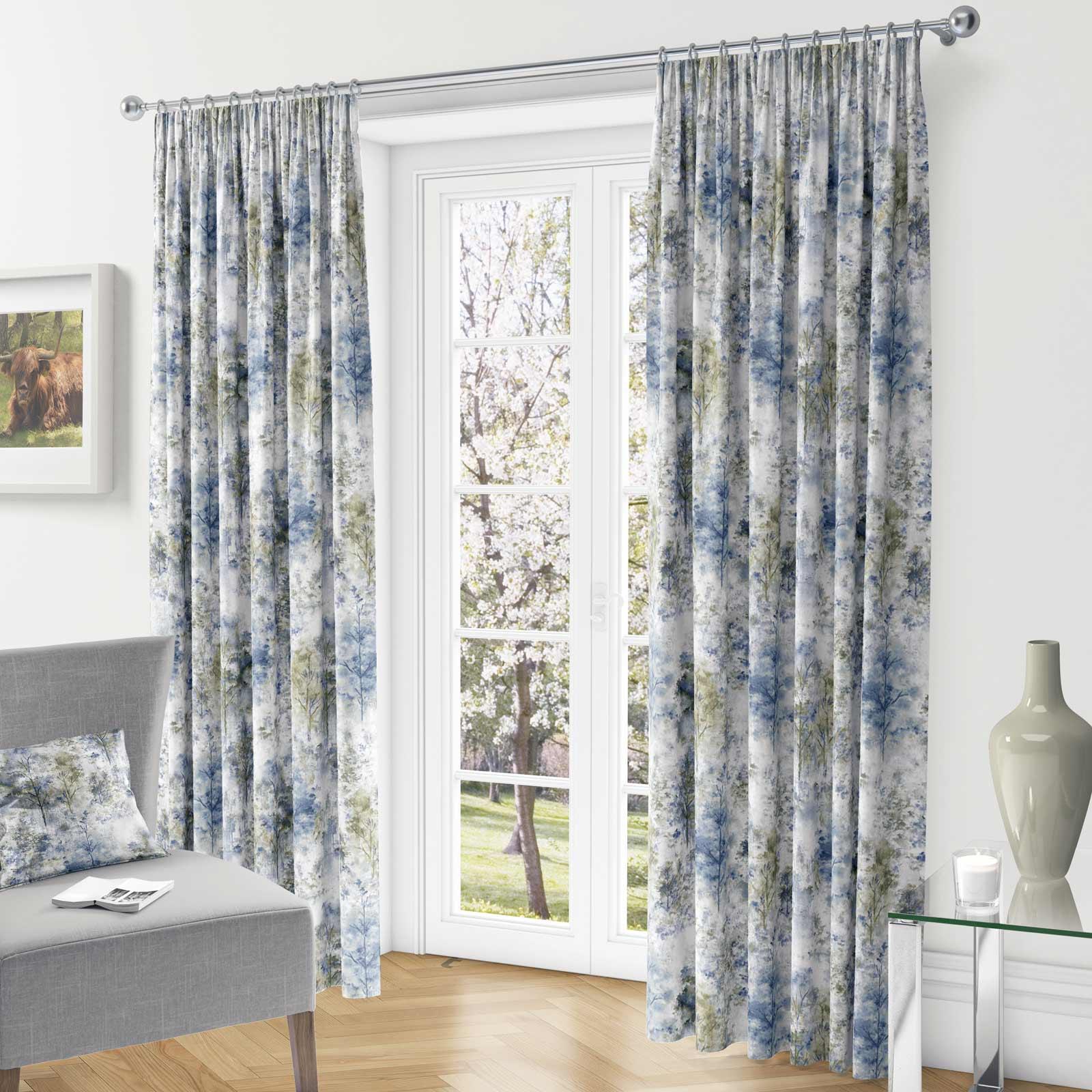 Woodland-Cinta-superior-Cortinas-de-arboles-de-impresion-Ready-Made-3-034-pares-de-cortina-plisado miniatura 9
